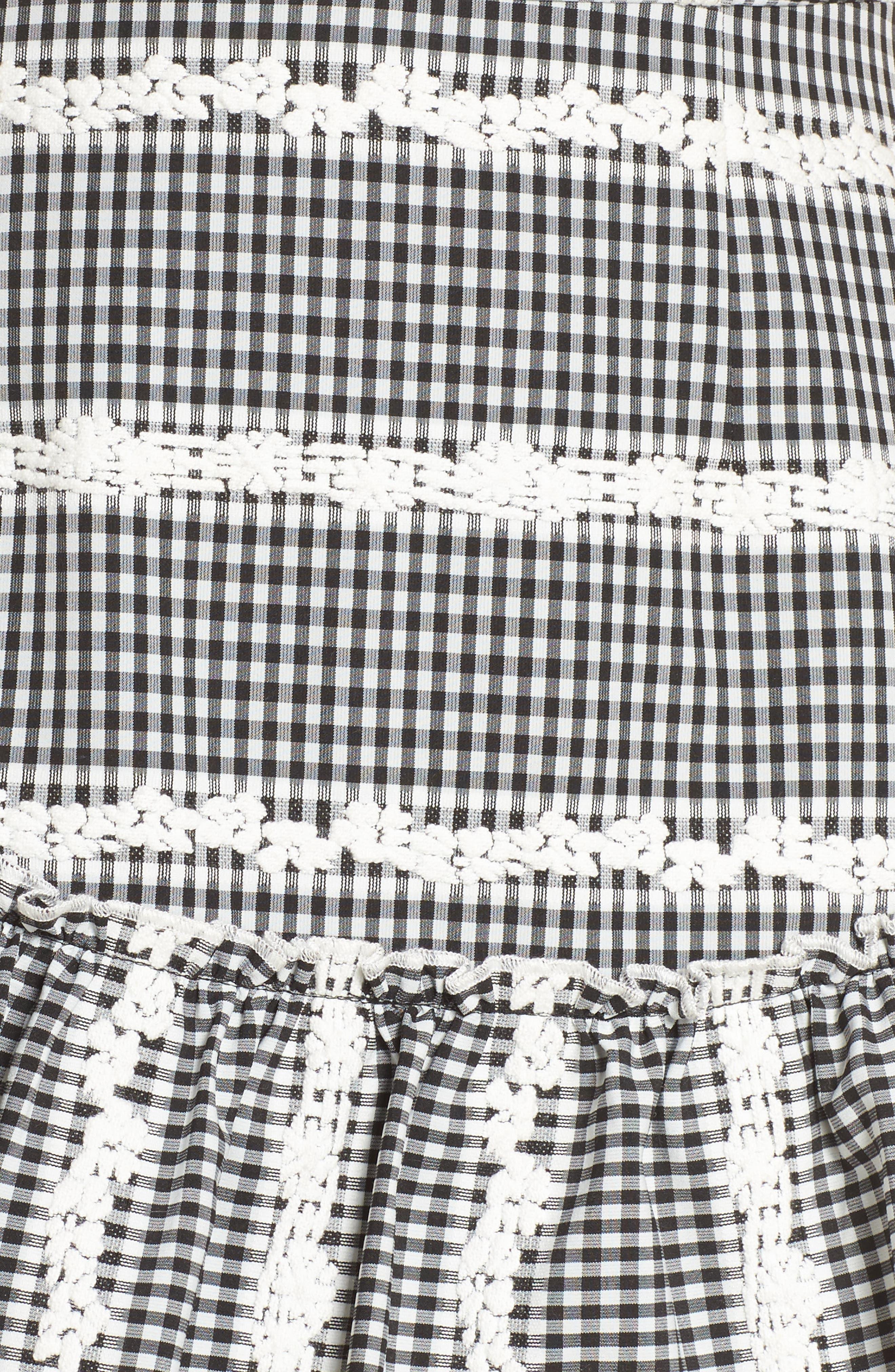 Belle Ruffle Gingham Dress,                             Alternate thumbnail 5, color,                             Black/ White