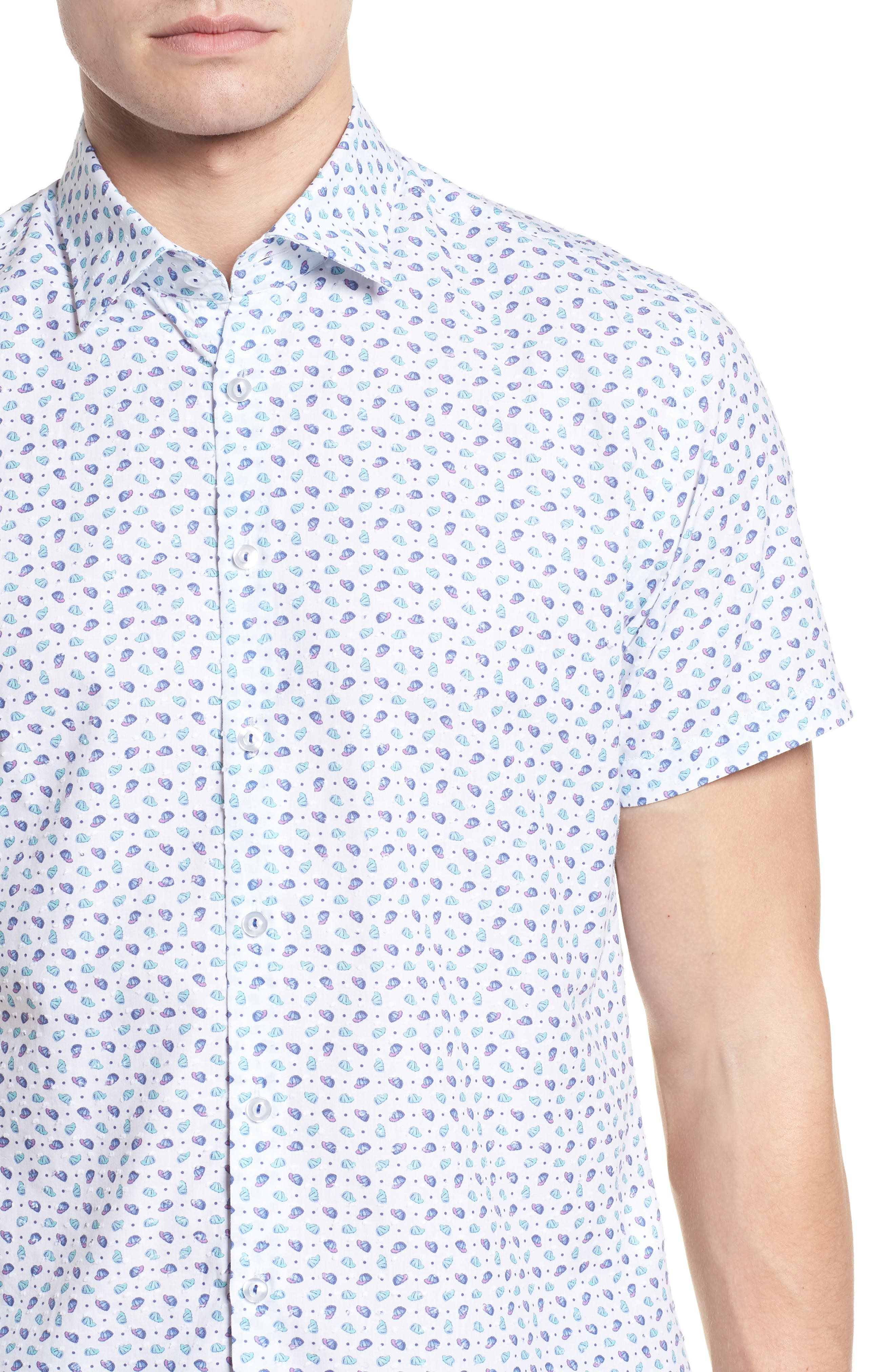 Contemporary Fit Cap Print Sport Shirt,                             Alternate thumbnail 4, color,                             White