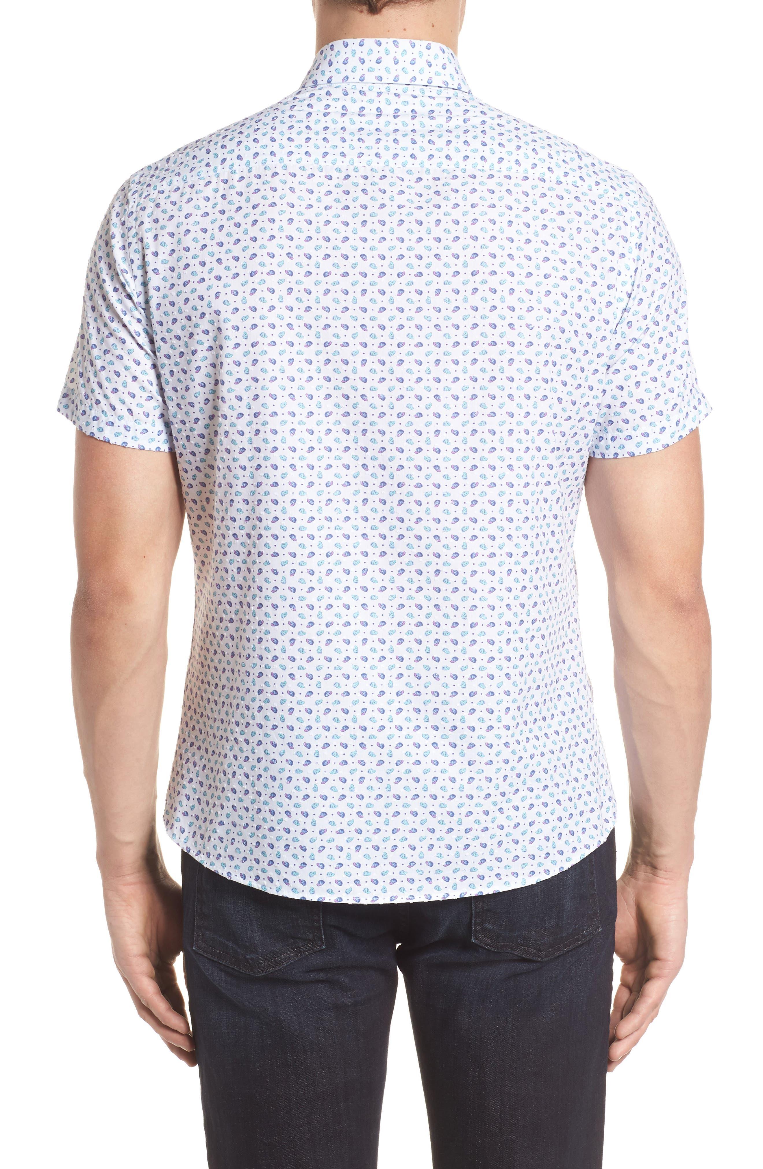 Contemporary Fit Cap Print Sport Shirt,                             Alternate thumbnail 2, color,                             White