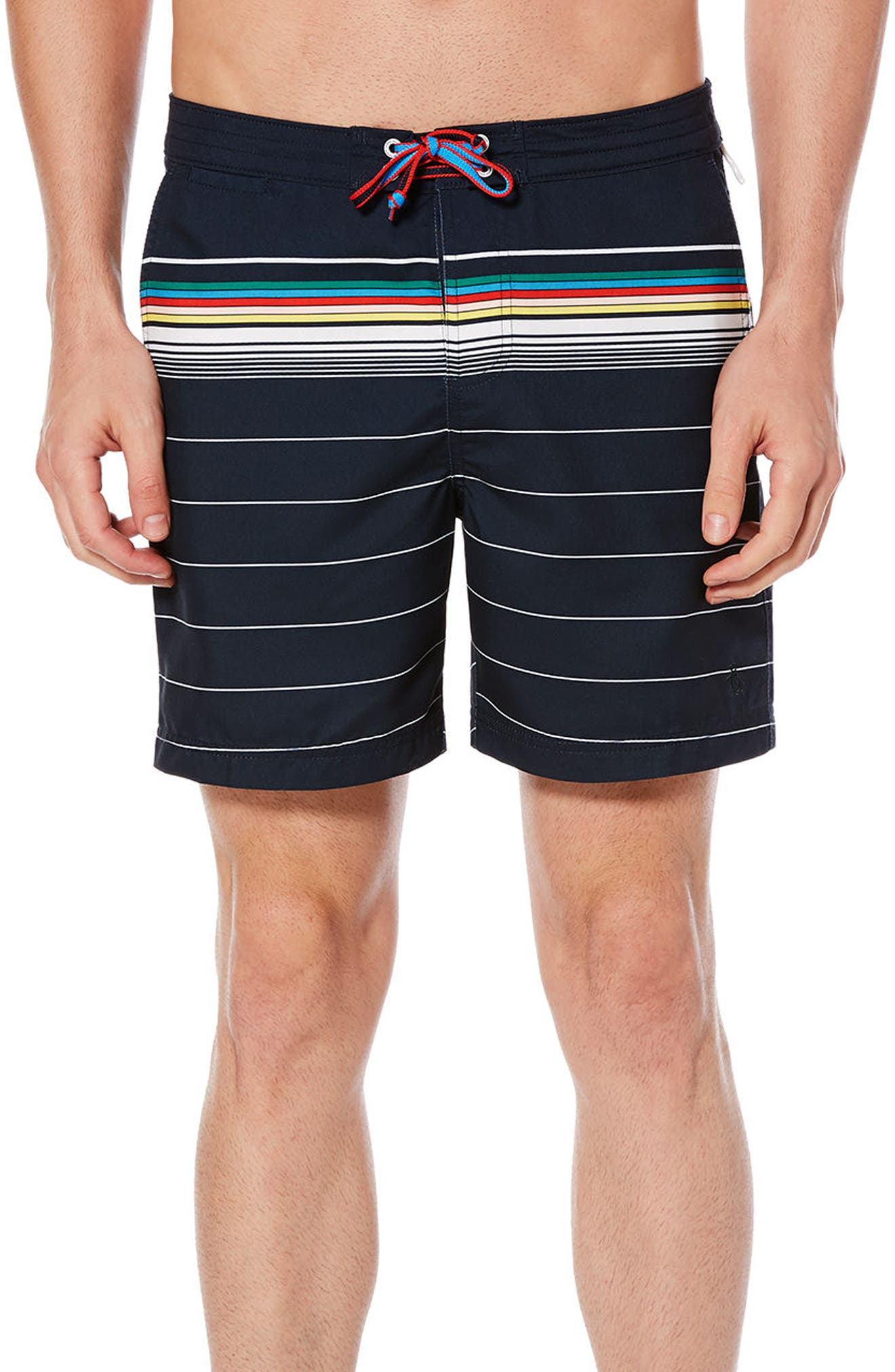 Bold Stripe Volley Board Shorts,                             Main thumbnail 1, color,                             Dark Sapphire