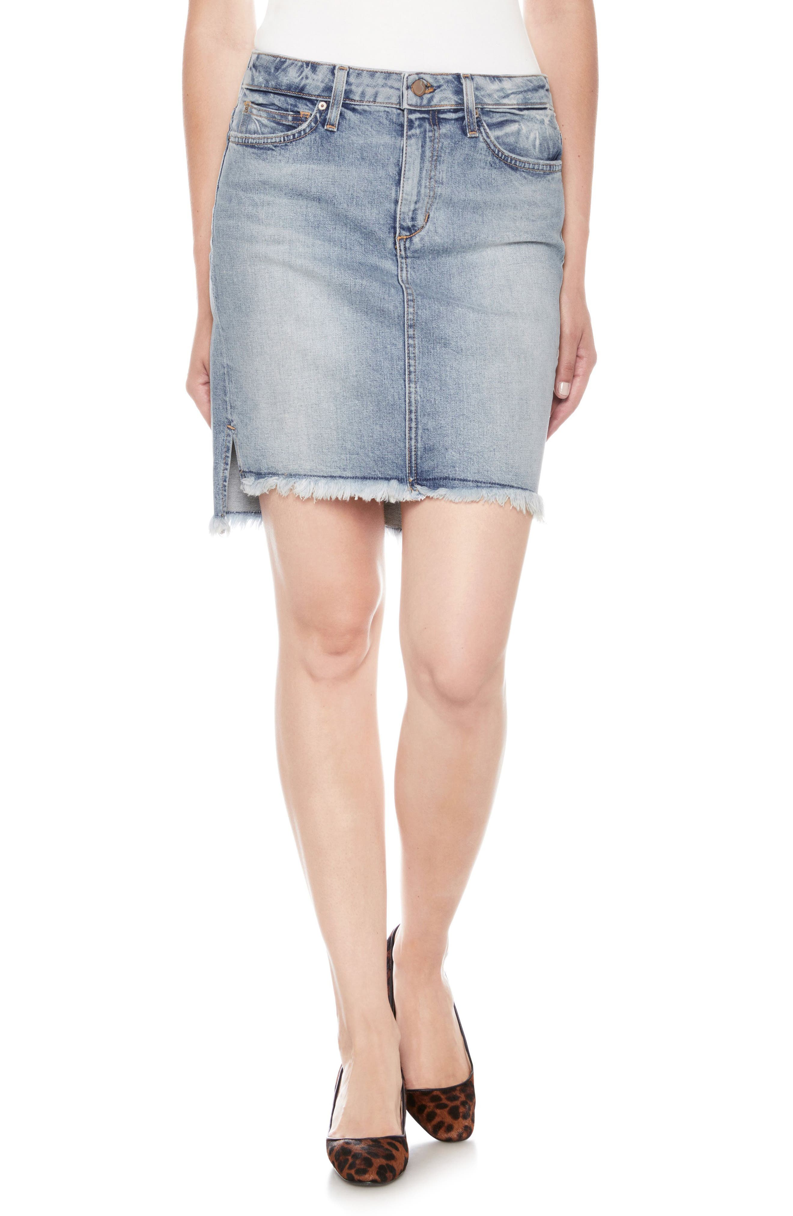 High/Low Denim Pencil Skirt,                             Main thumbnail 1, color,                             Shawny
