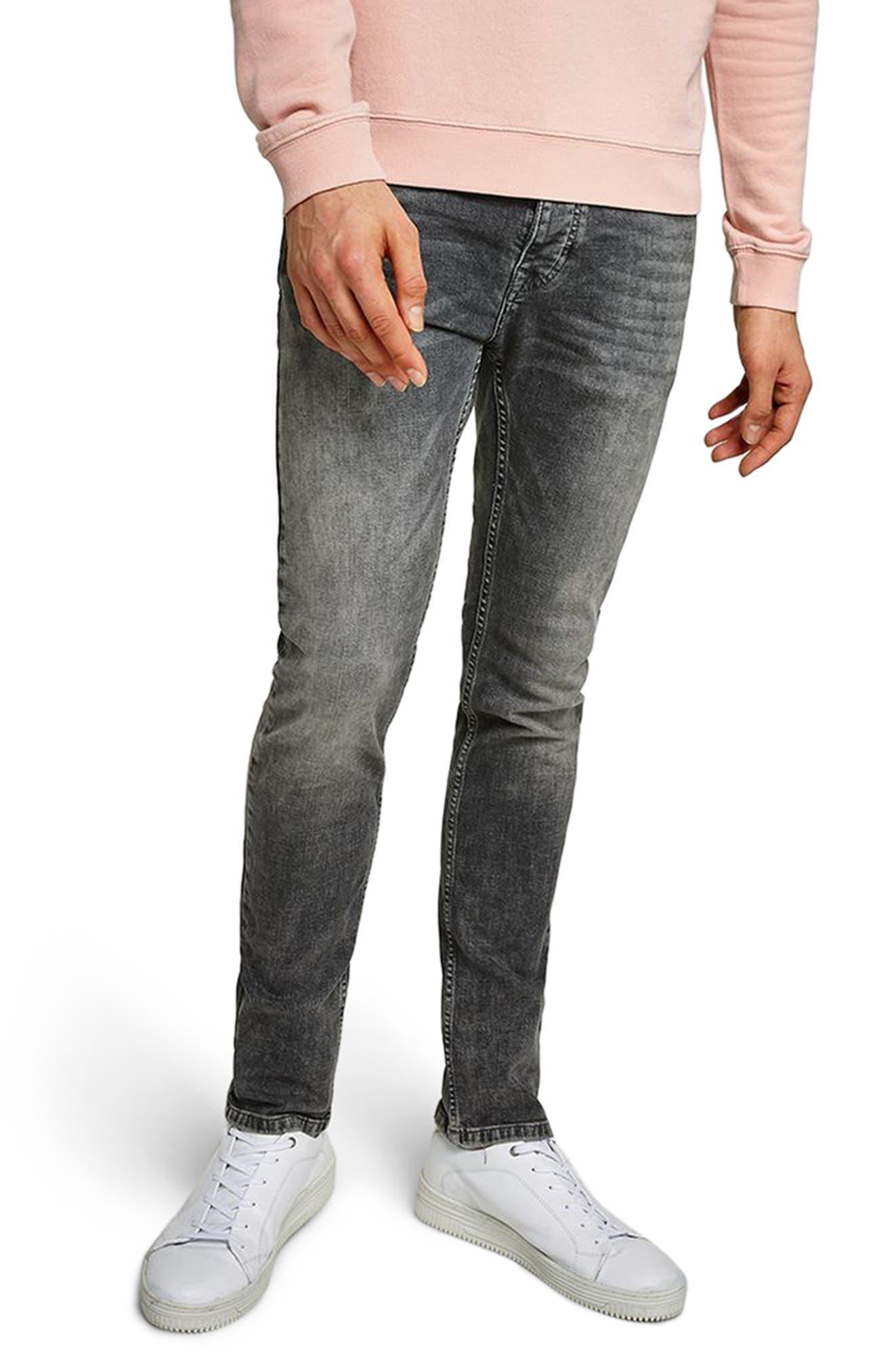 Topman Grey Stretch Skinny Jeans