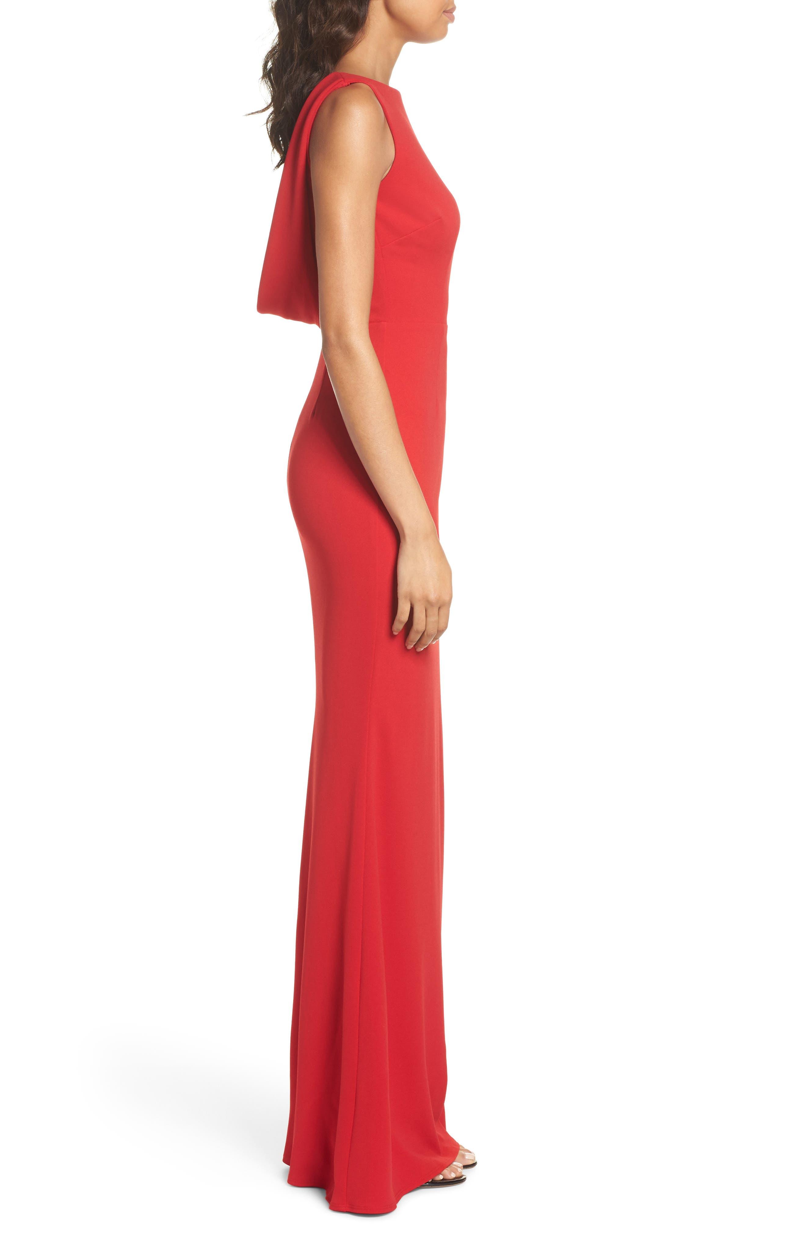 Vionnet Drape Back Crepe Gown,                             Alternate thumbnail 3, color,                             Red