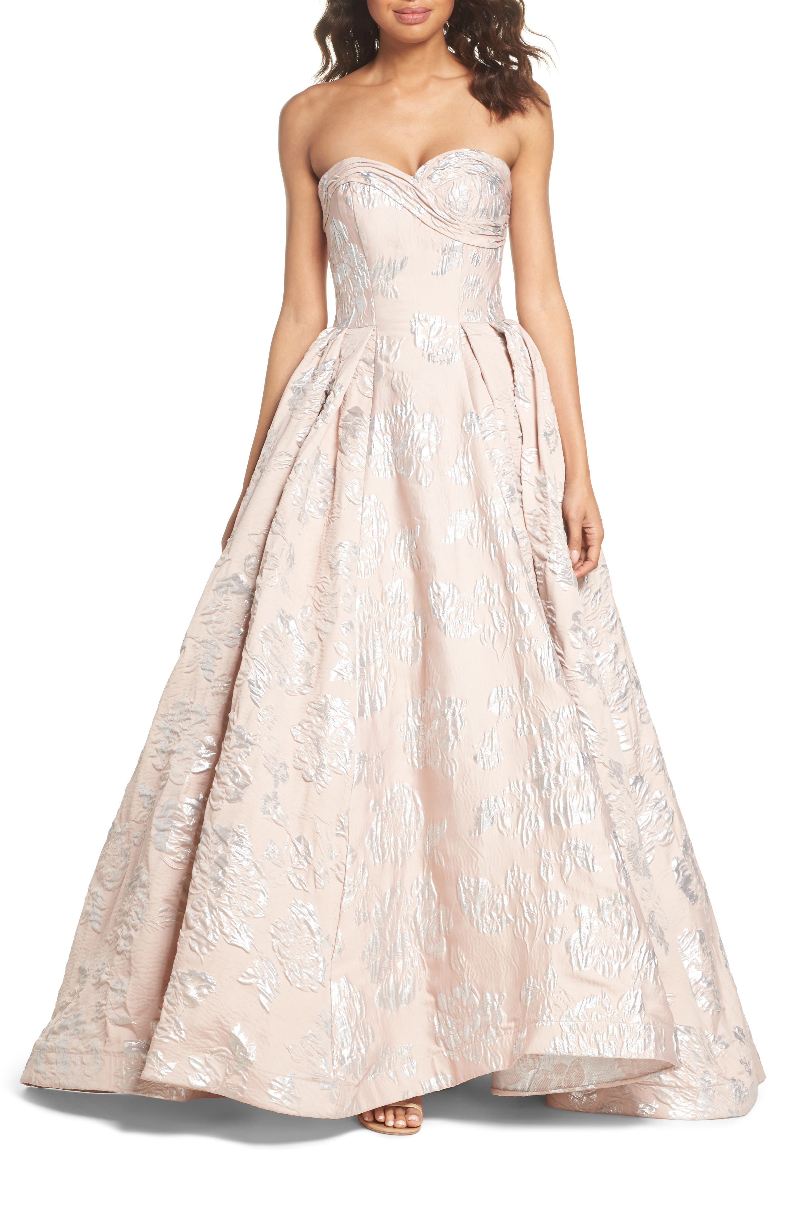 Brocade Bustier Gown,                             Main thumbnail 1, color,                             Blush