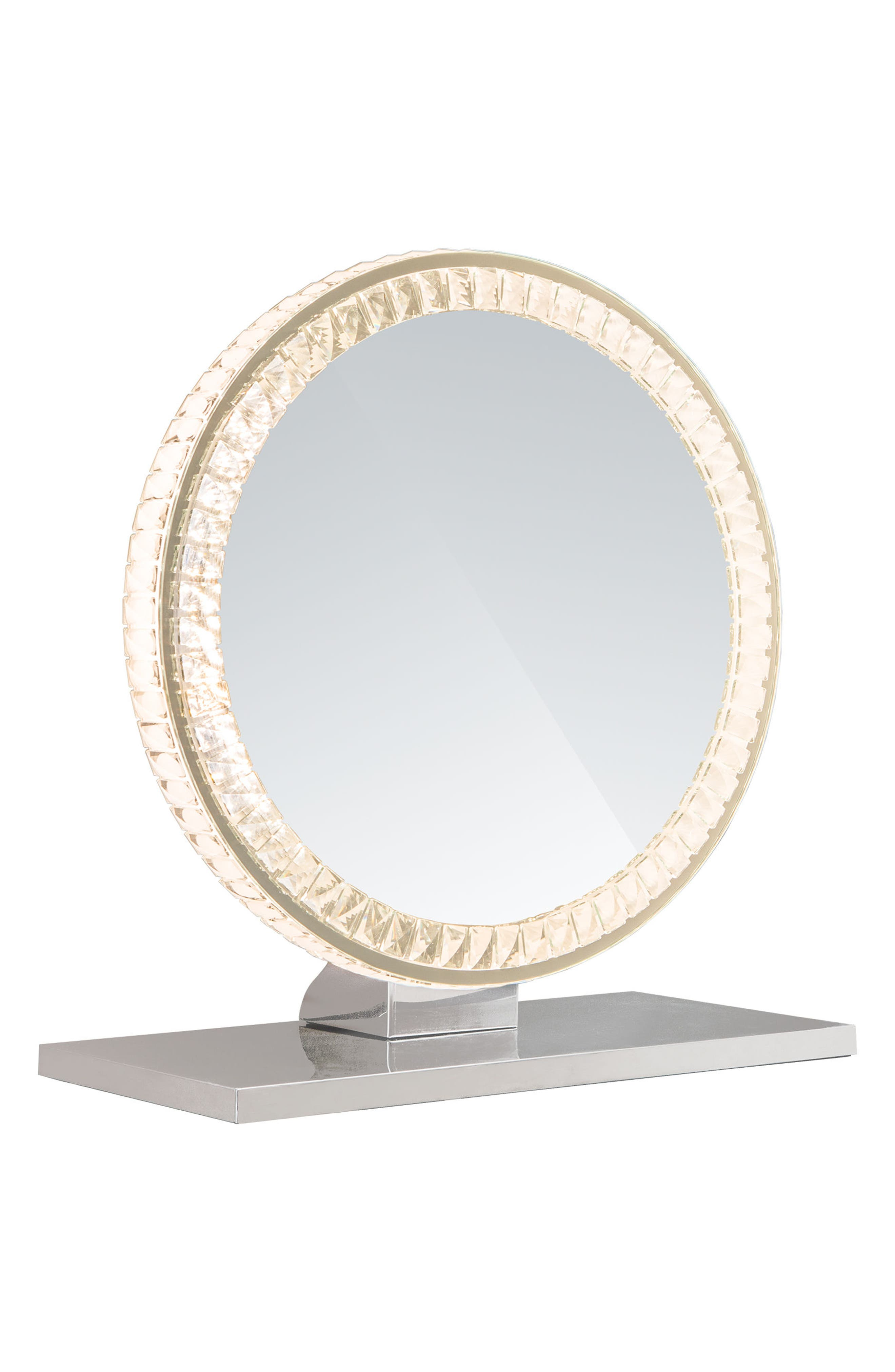 Diamond Collection Round LED Vanity Mirror,                             Alternate thumbnail 2, color,                             Clear
