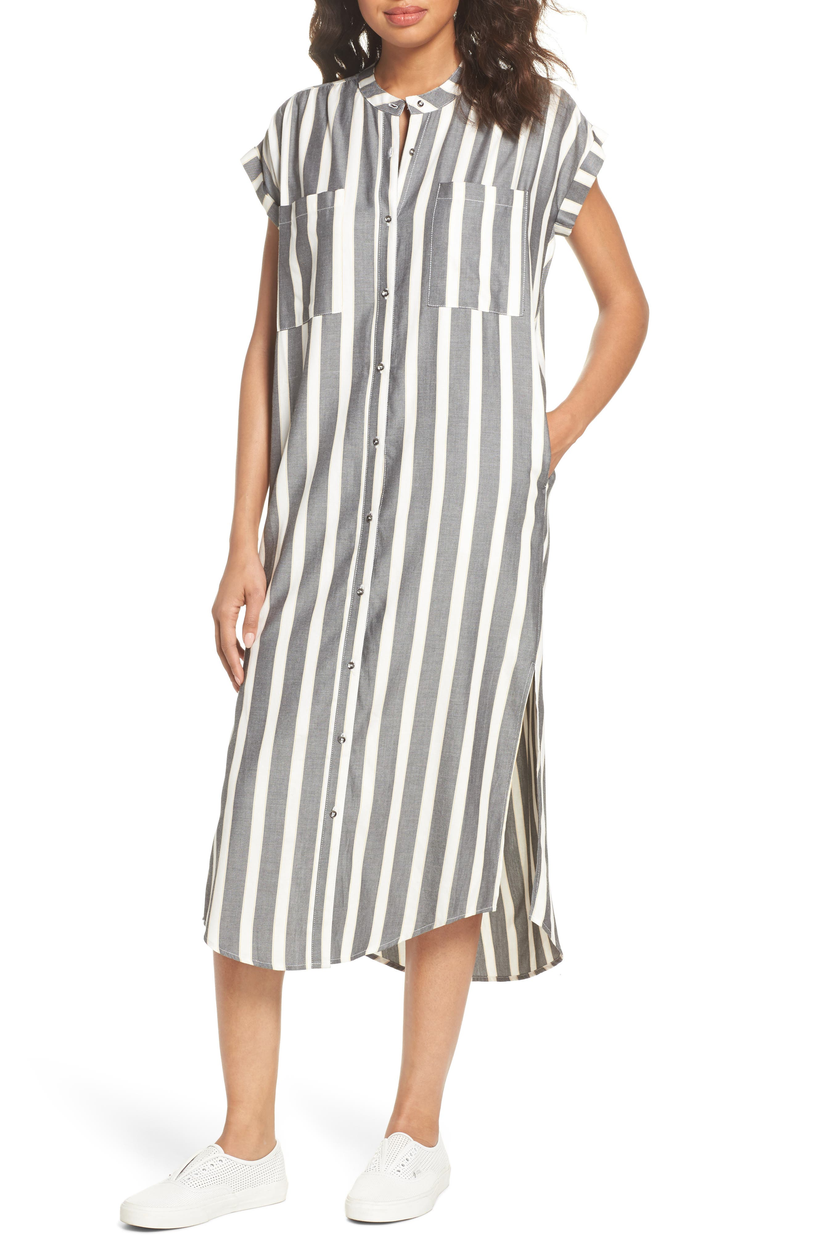 Haze Shirtdress,                             Main thumbnail 1, color,                             Black With Cream Stripe
