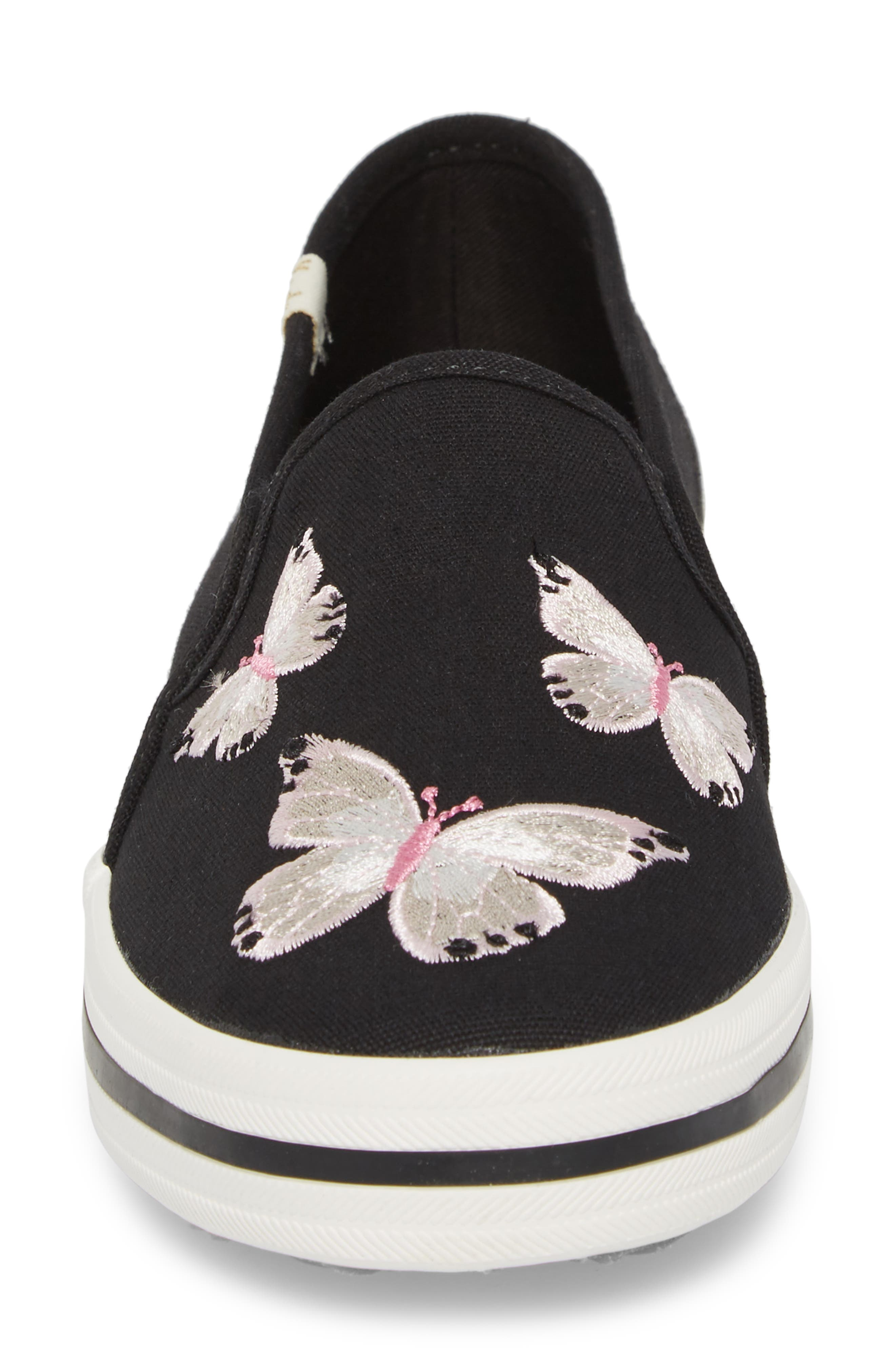 butterfly double decker slip-on sneaker,                             Alternate thumbnail 4, color,                             Black