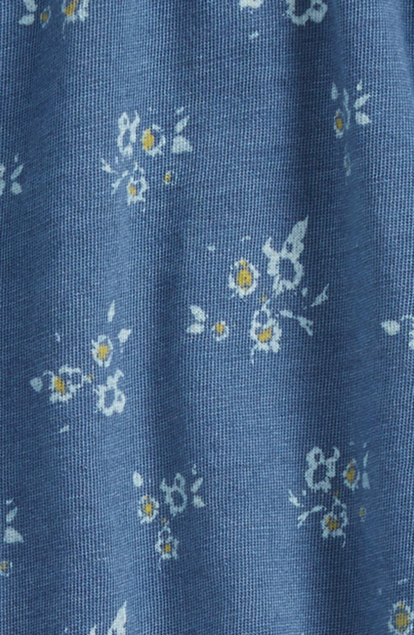 Ruffle Romper,                             Alternate thumbnail 2, color,                             Blue Indigo Floral