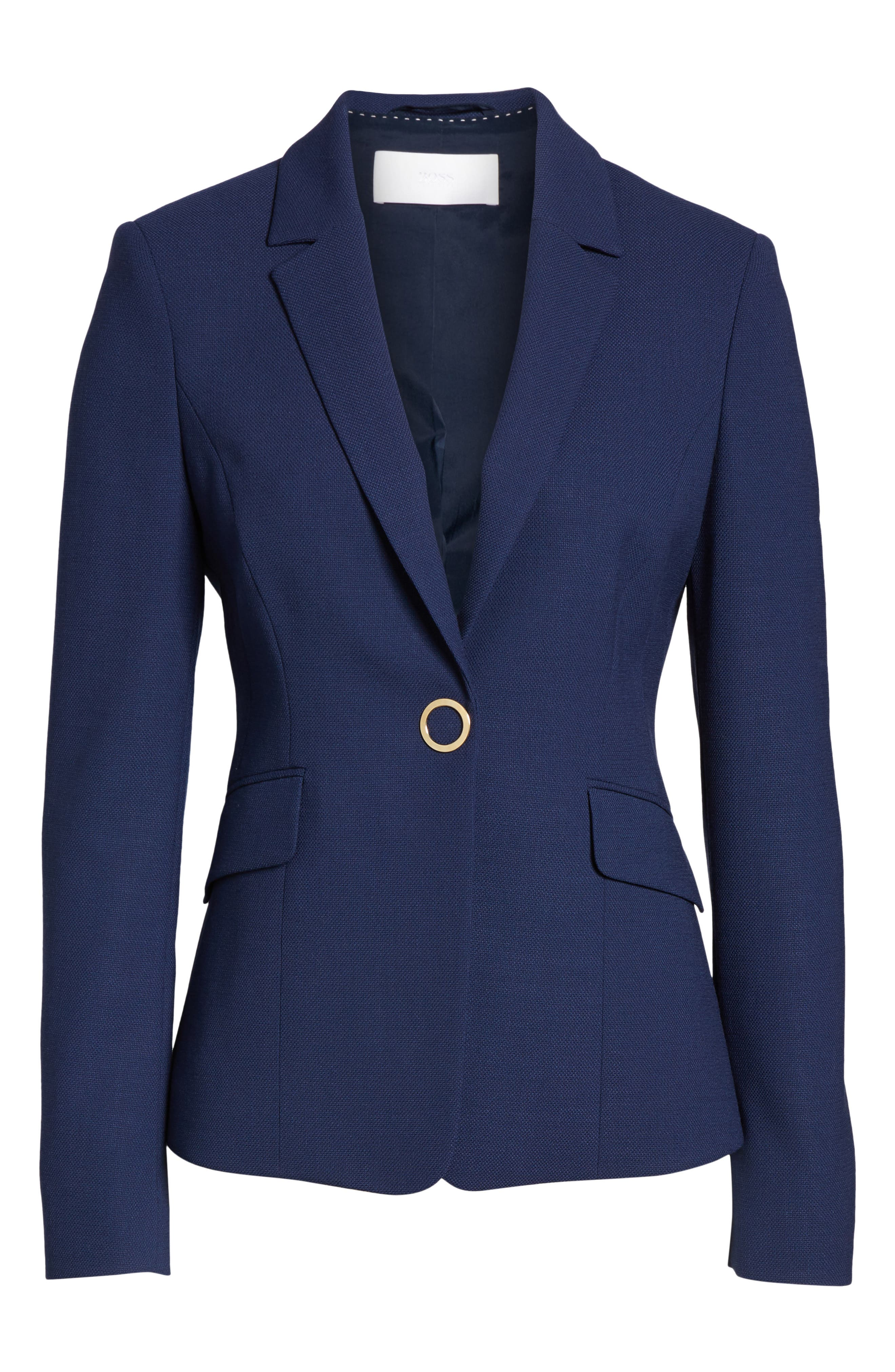 Jibalena Textured Stretch Wool Suit Jacket,                             Alternate thumbnail 7, color,                             Nautical