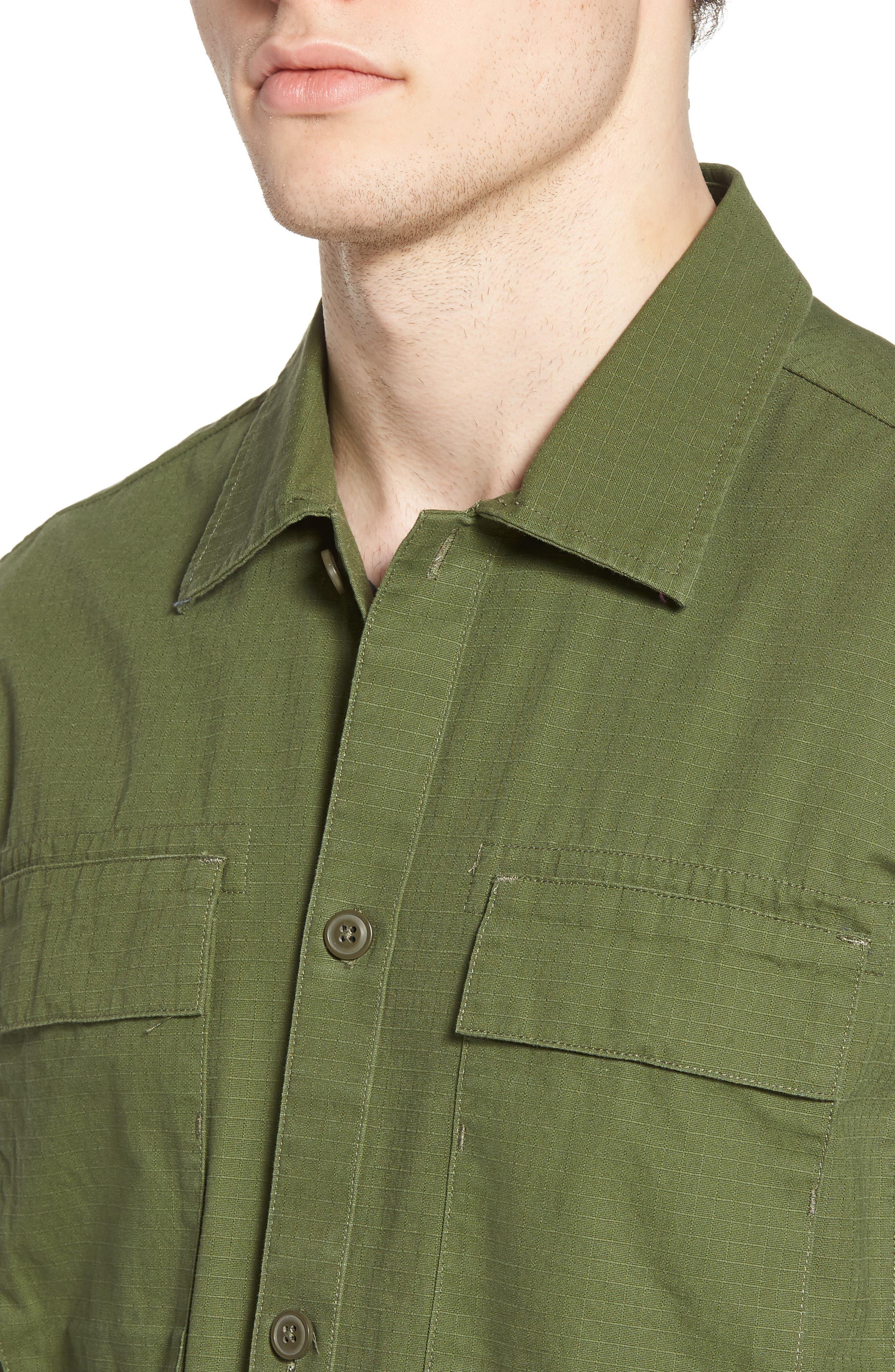 Oakledge Ripstop Shirt Jacket,                             Alternate thumbnail 4, color,                             Olive