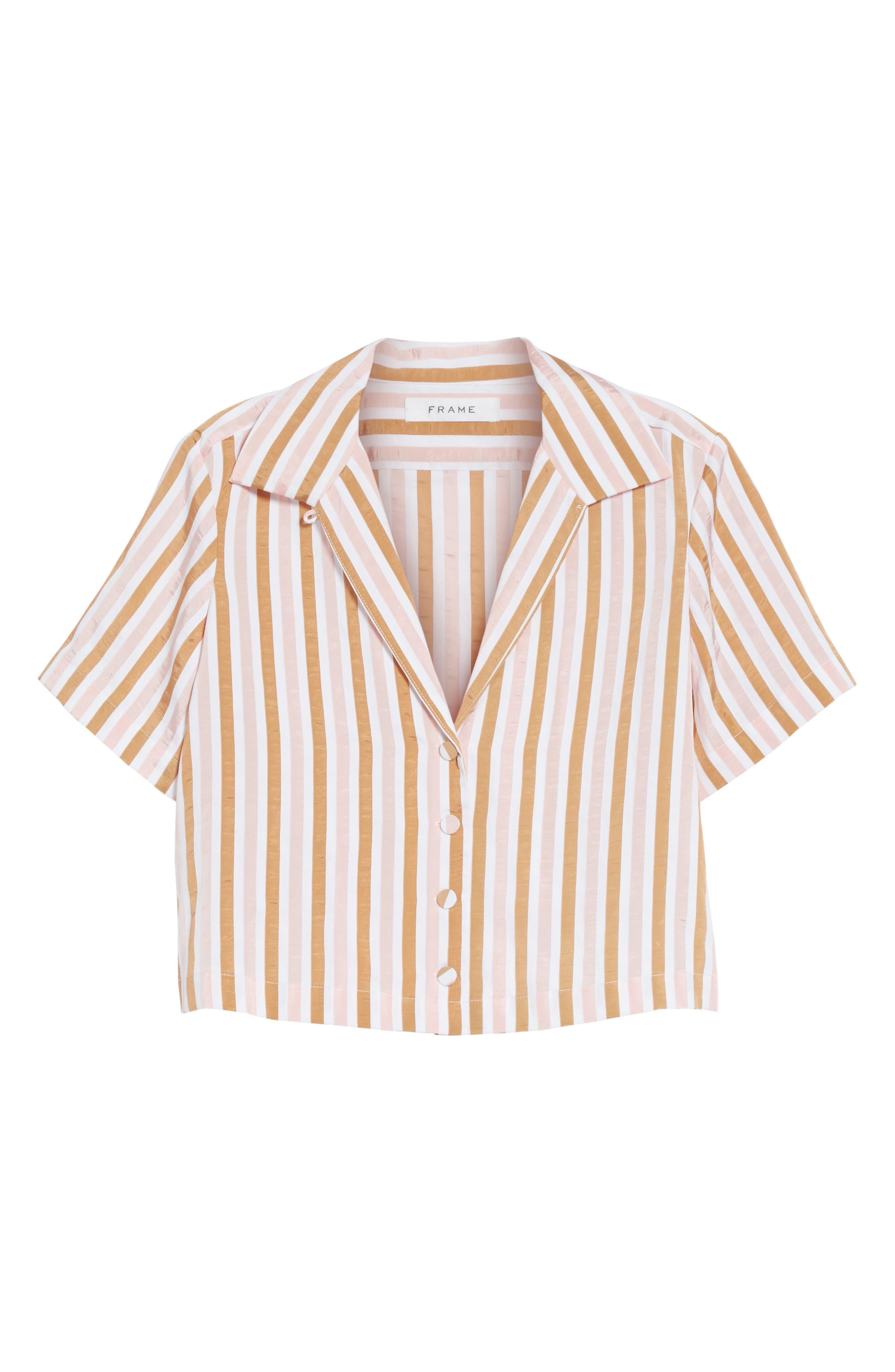 Stripe Mini Crop Shirt,                             Alternate thumbnail 7, color,                             Copper Multi