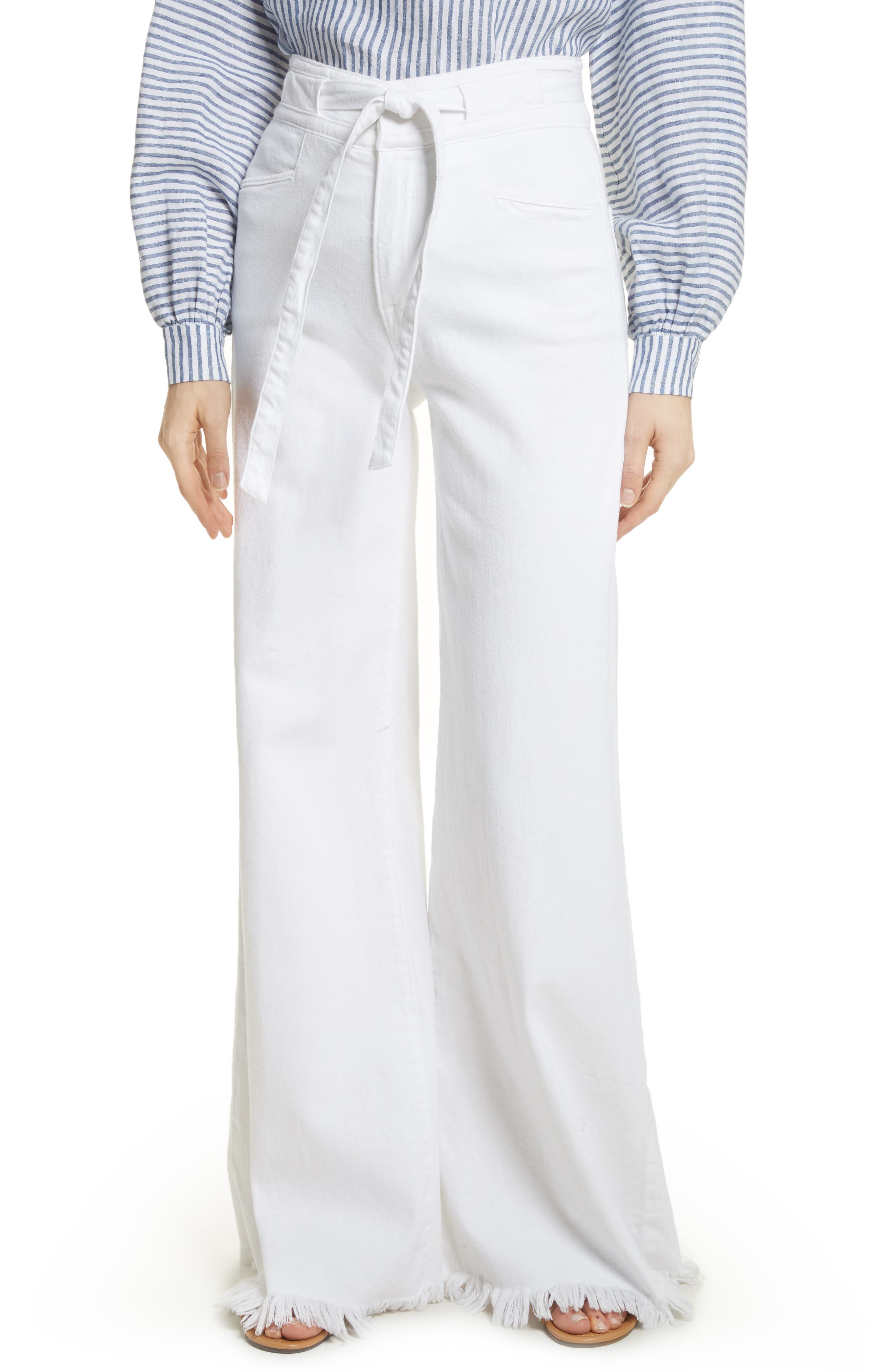 FRAME Le Palazzo Belted Raw Edge Jeans (Blanc)