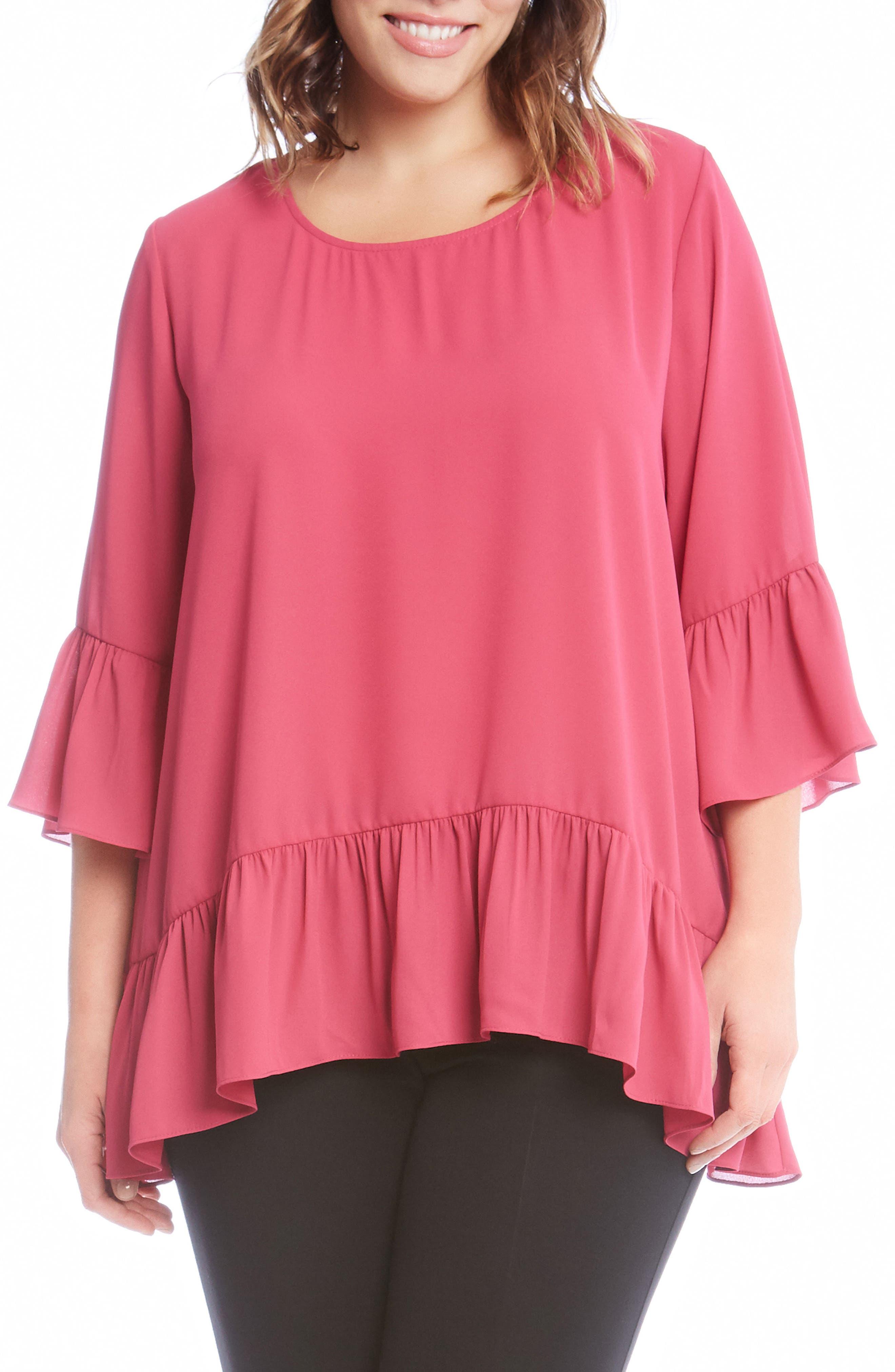 Ruffle Hem Top,                         Main,                         color, Pink