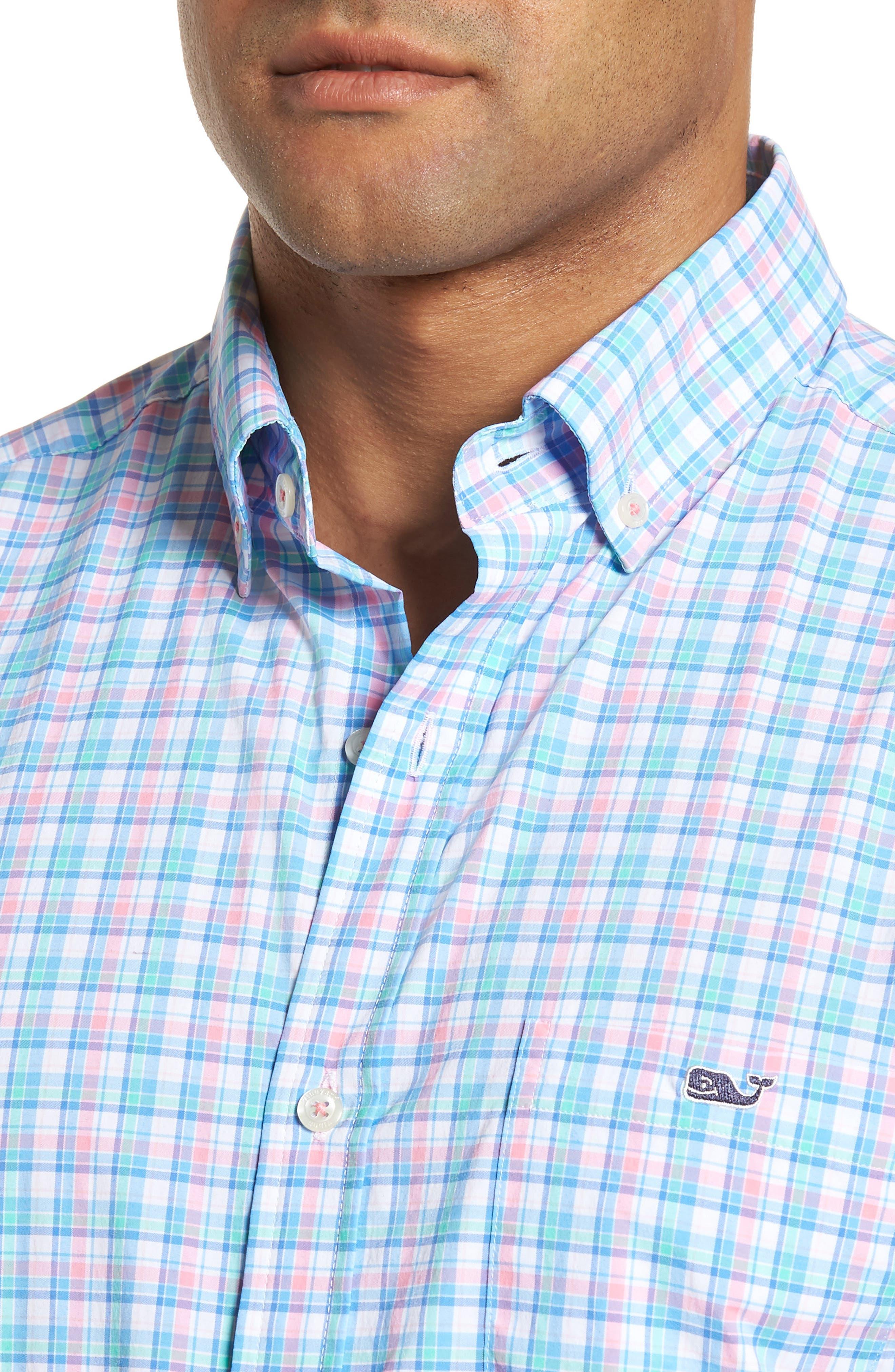 Tiki Bar Plaid Classic Fit Sport Shirt,                             Alternate thumbnail 4, color,                             Pink