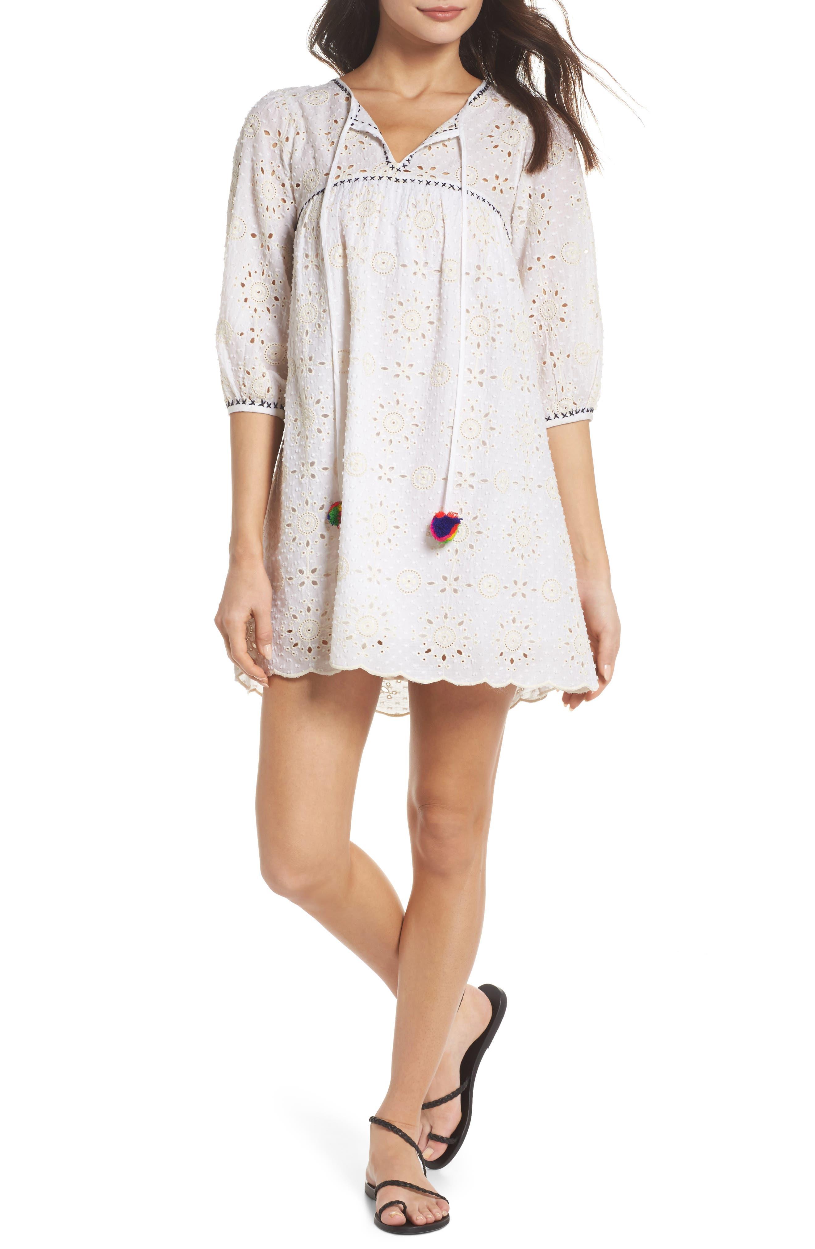 Eyelet Babydoll Dress,                         Main,                         color, Cream