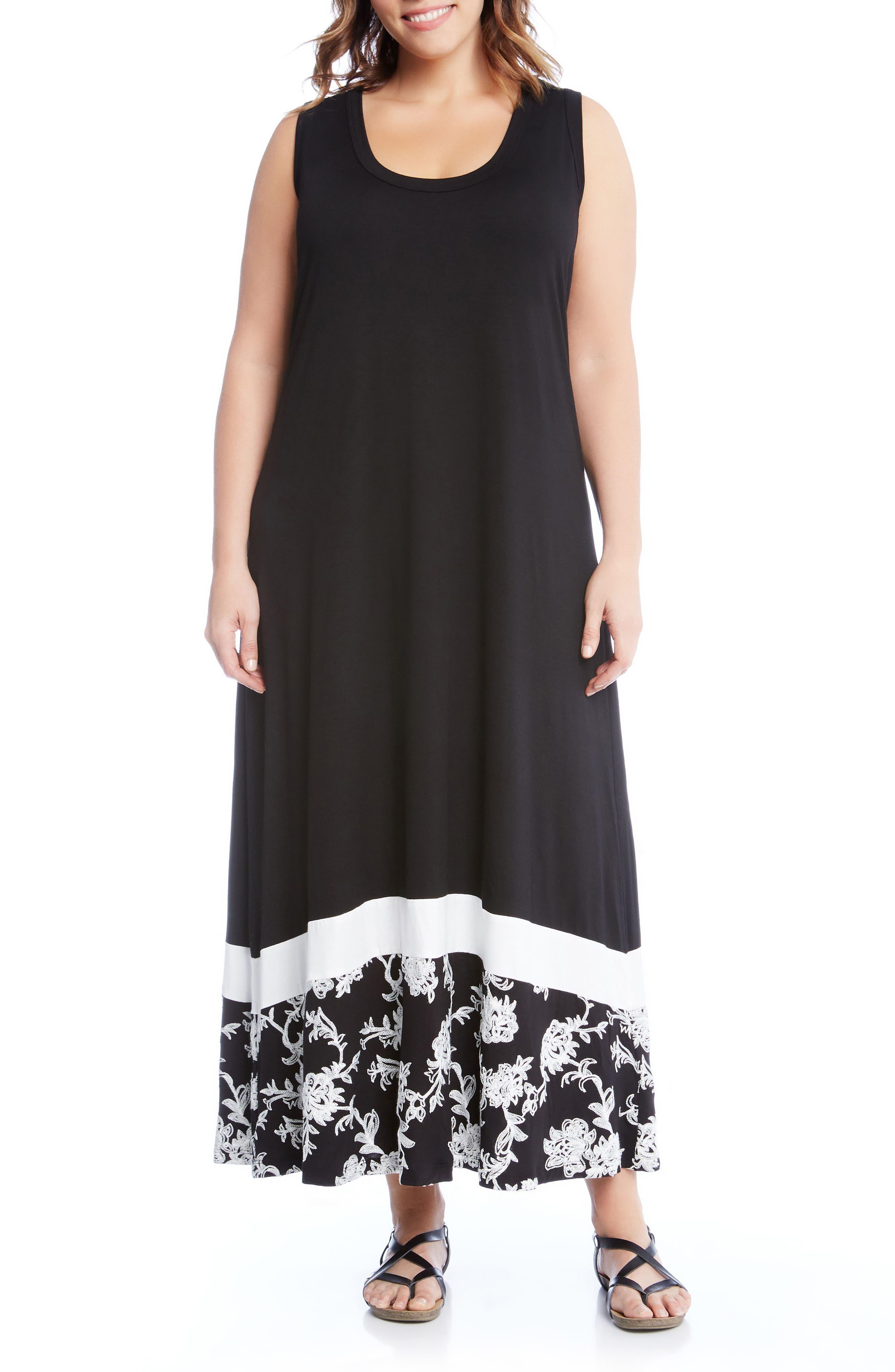 Embroidered Hem Maxi Dress,                             Main thumbnail 1, color,                             Black