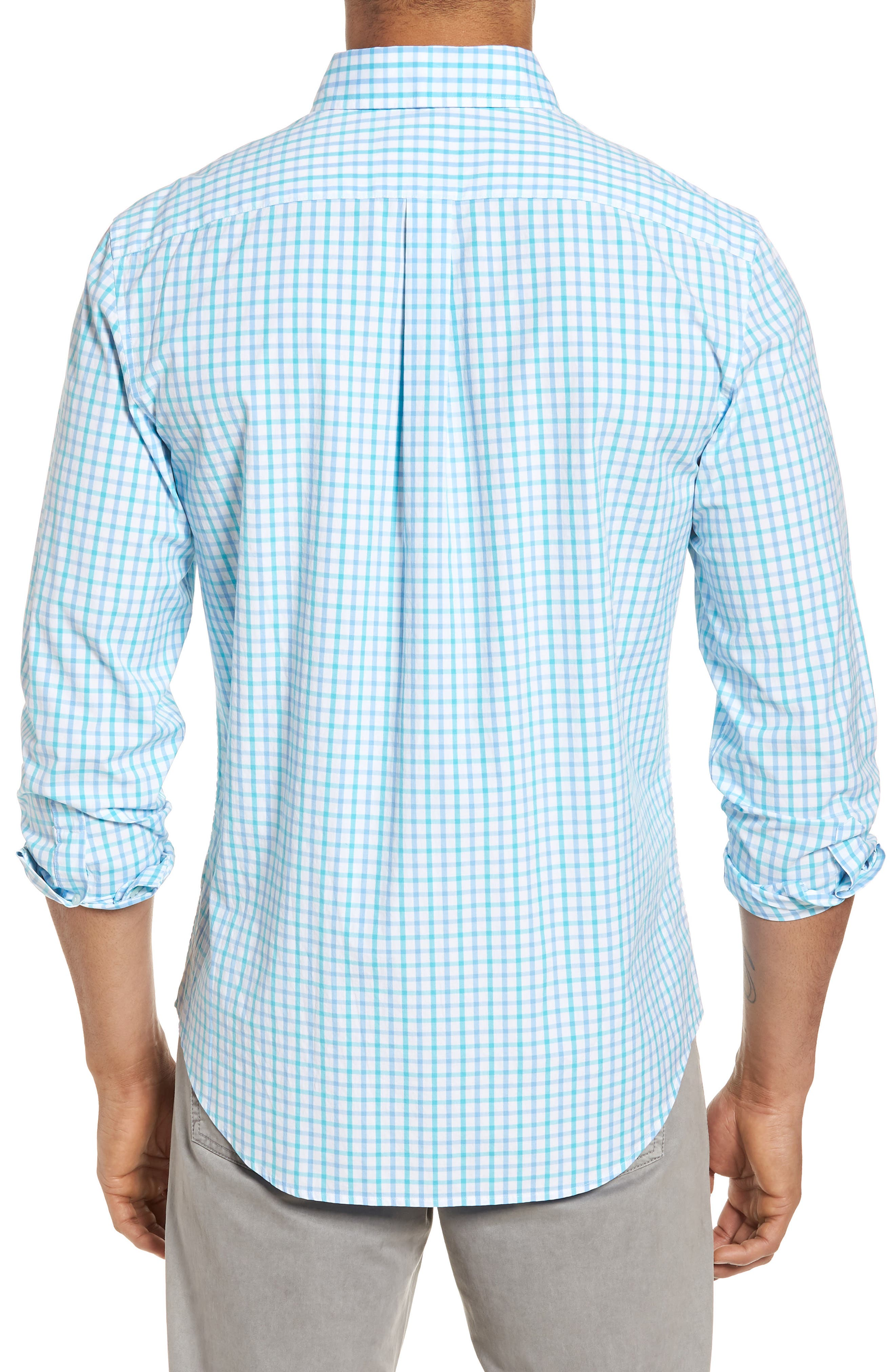 The Marls Classic Fit Stretch Check Sport Shirt,                             Alternate thumbnail 3, color,                             Turquoise