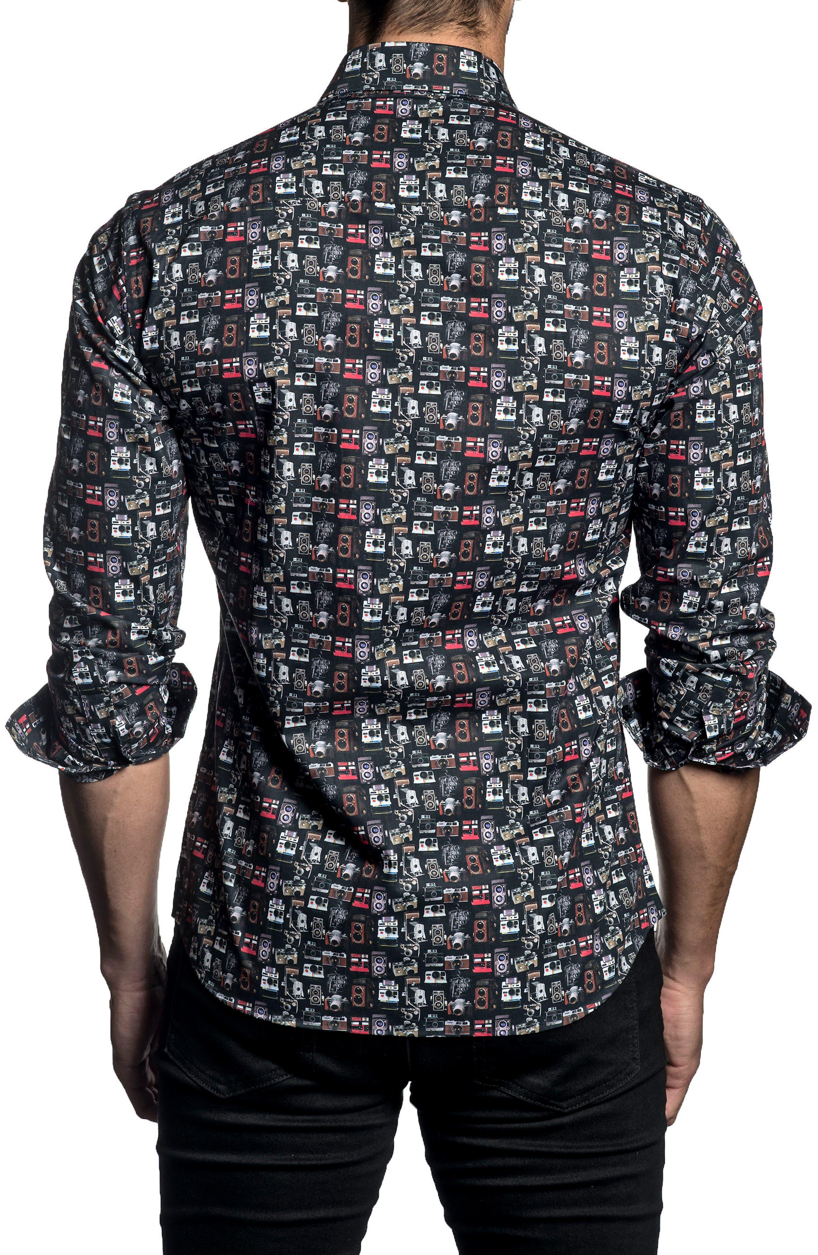 Trim Fit Print Sport Shirt,                             Alternate thumbnail 2, color,                             Black Print
