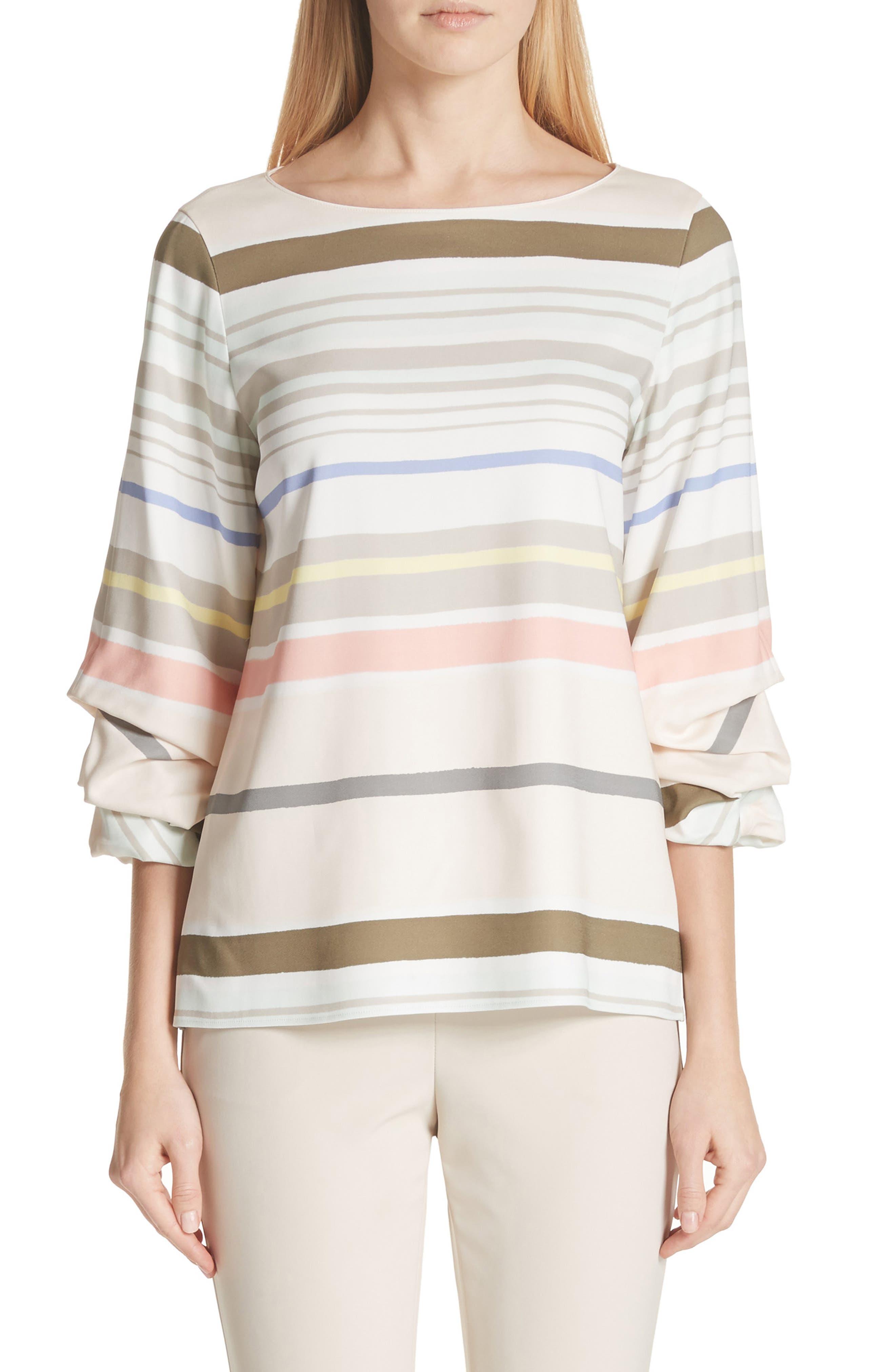 Winston Stripe Blouse,                         Main,                         color, Khaki Multi