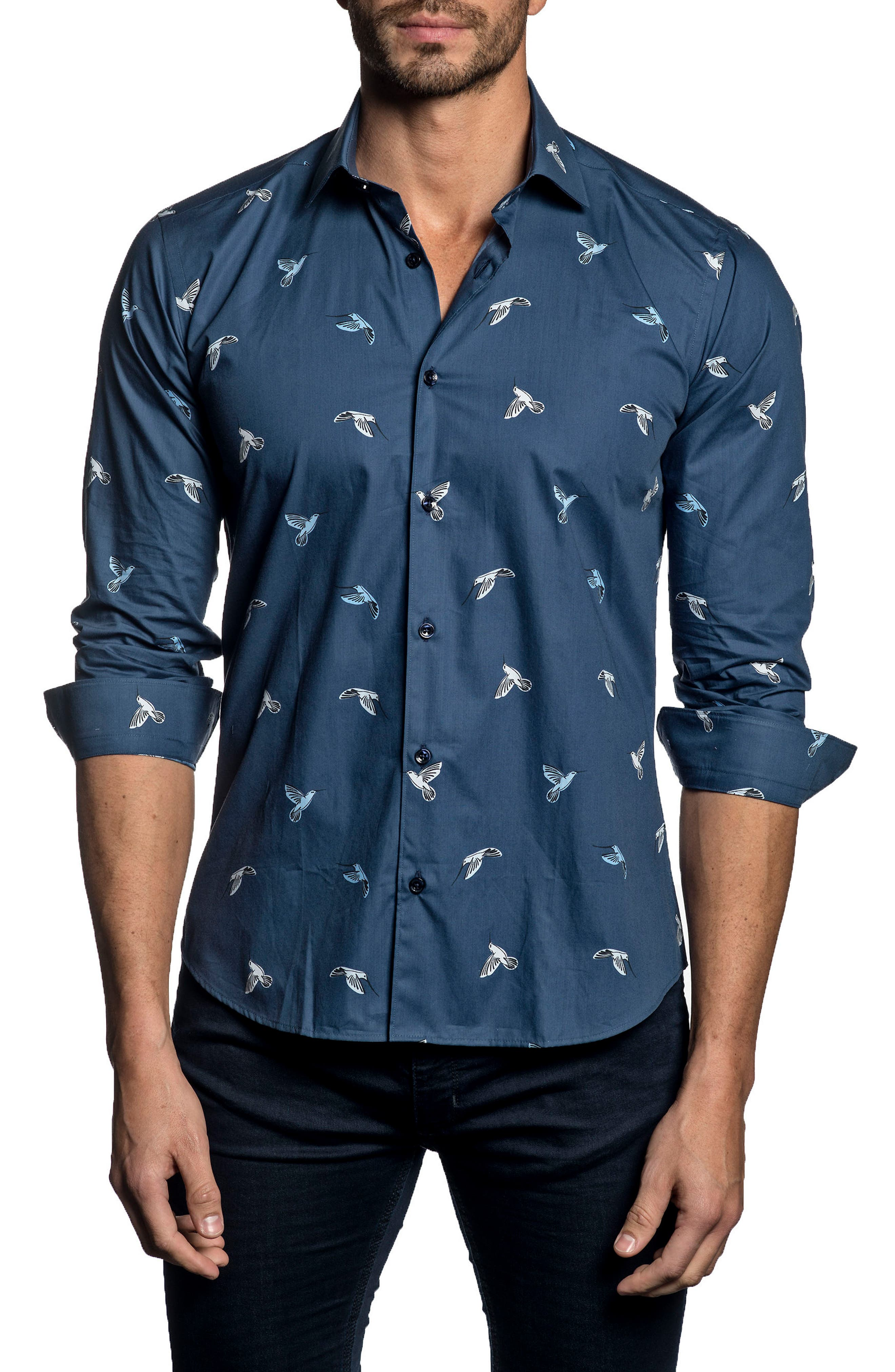 Trim Fit Print Sport Shirt,                             Main thumbnail 1, color,                             Dark Blue Print