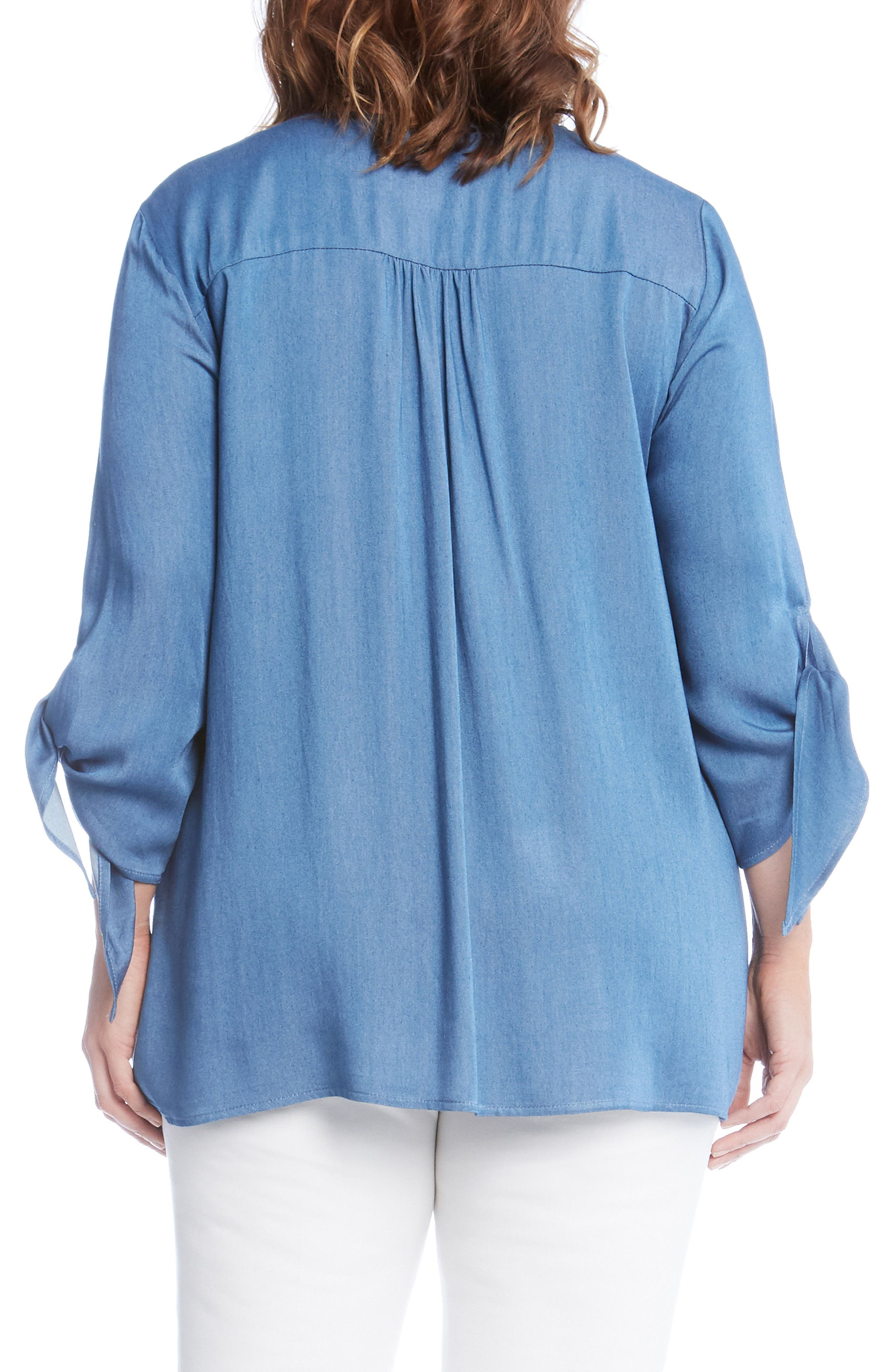 Tie Sleeve Chambray Top,                             Alternate thumbnail 2, color,                             Blue
