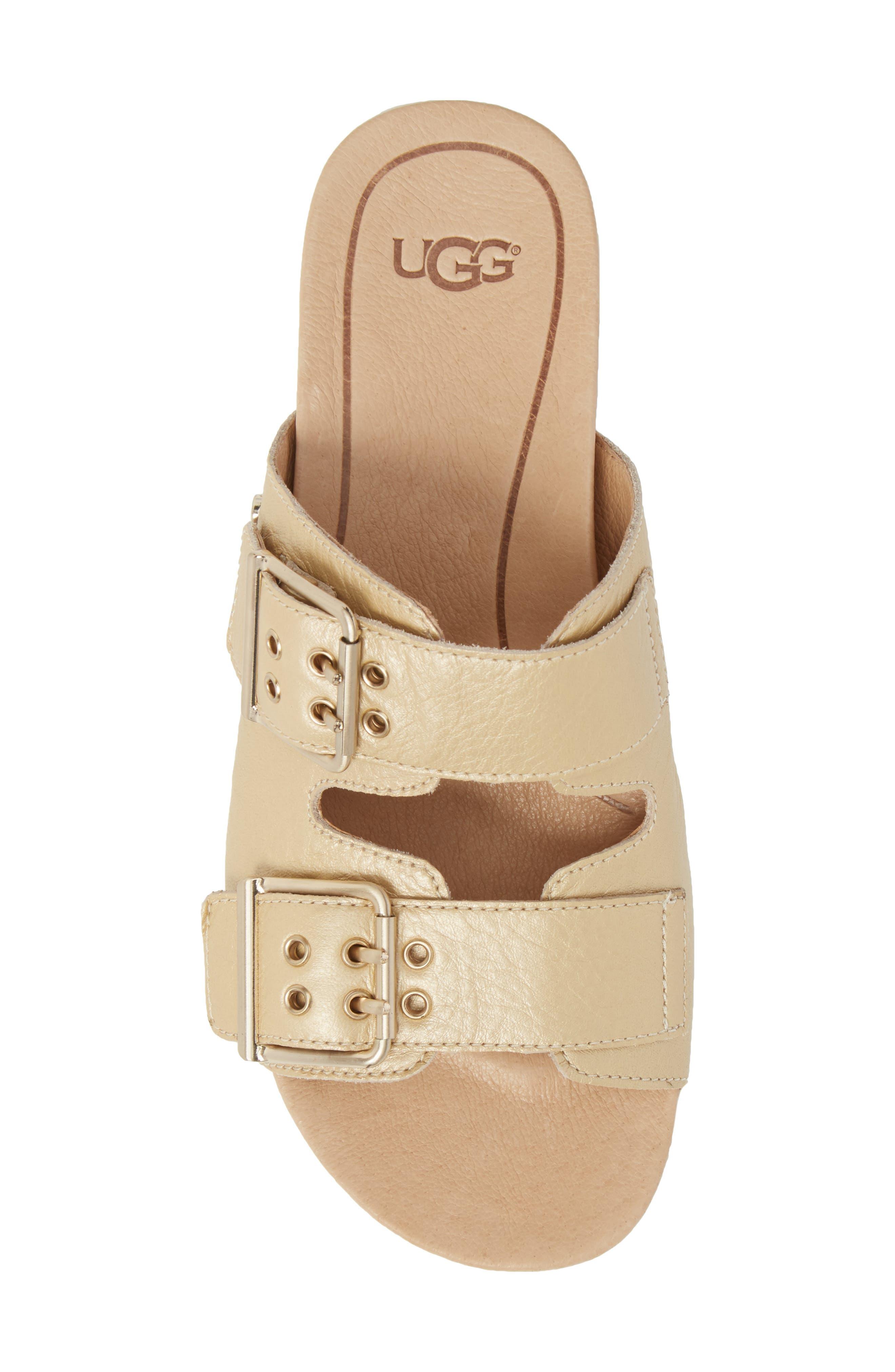 Cammie Platform Sandal,                             Alternate thumbnail 5, color,                             Gold Patent Leather