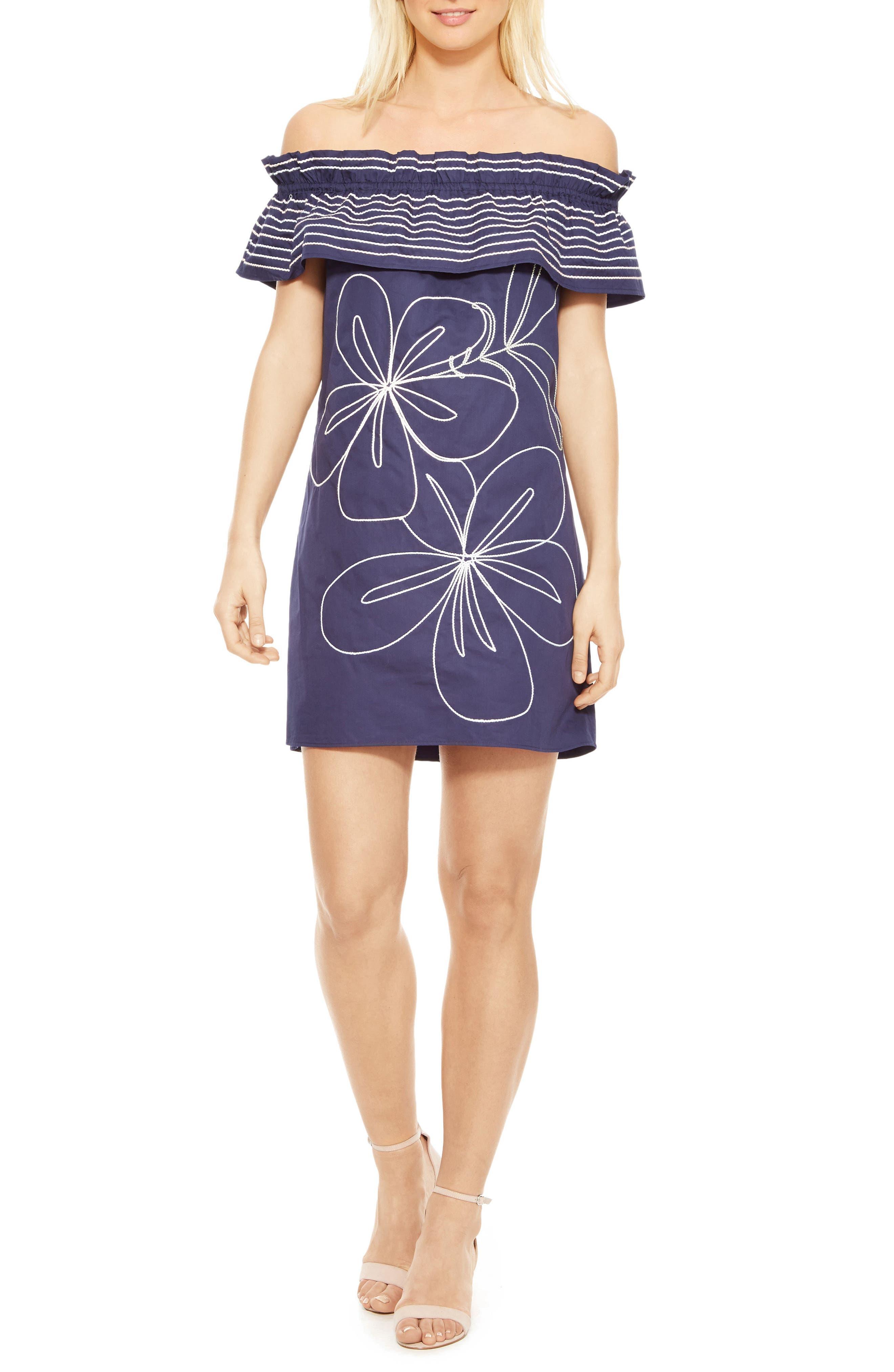 Jody Off the Shoulder Shift Dress,                         Main,                         color, Blue Horizon