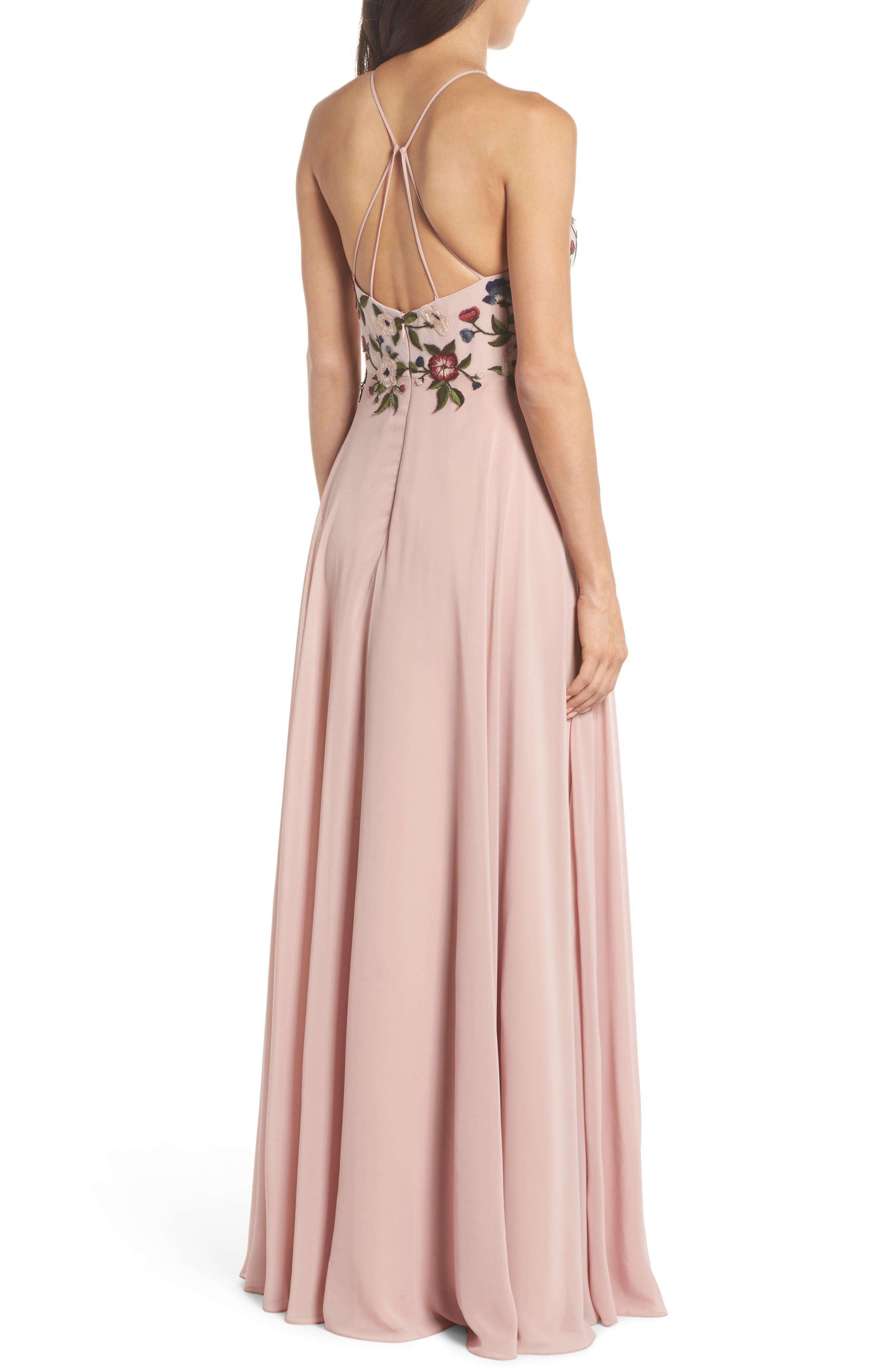 Sophie Embroidered Luxe Chiffon Gown,                             Alternate thumbnail 2, color,                             Whipped Apricot