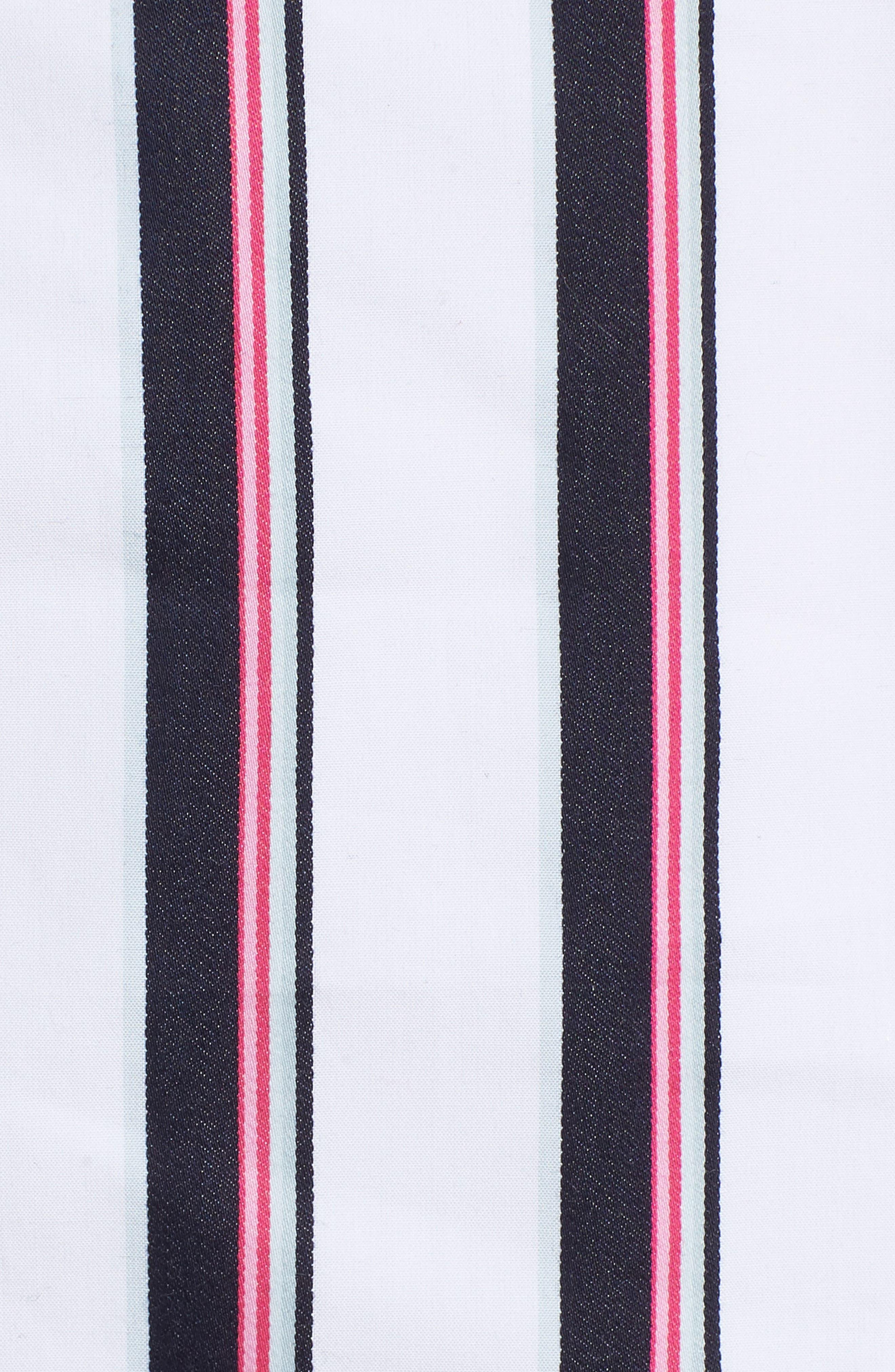 Florence Cold Shoulder Minidress,                             Alternate thumbnail 5, color,                             Ivory/ Navy Stripe