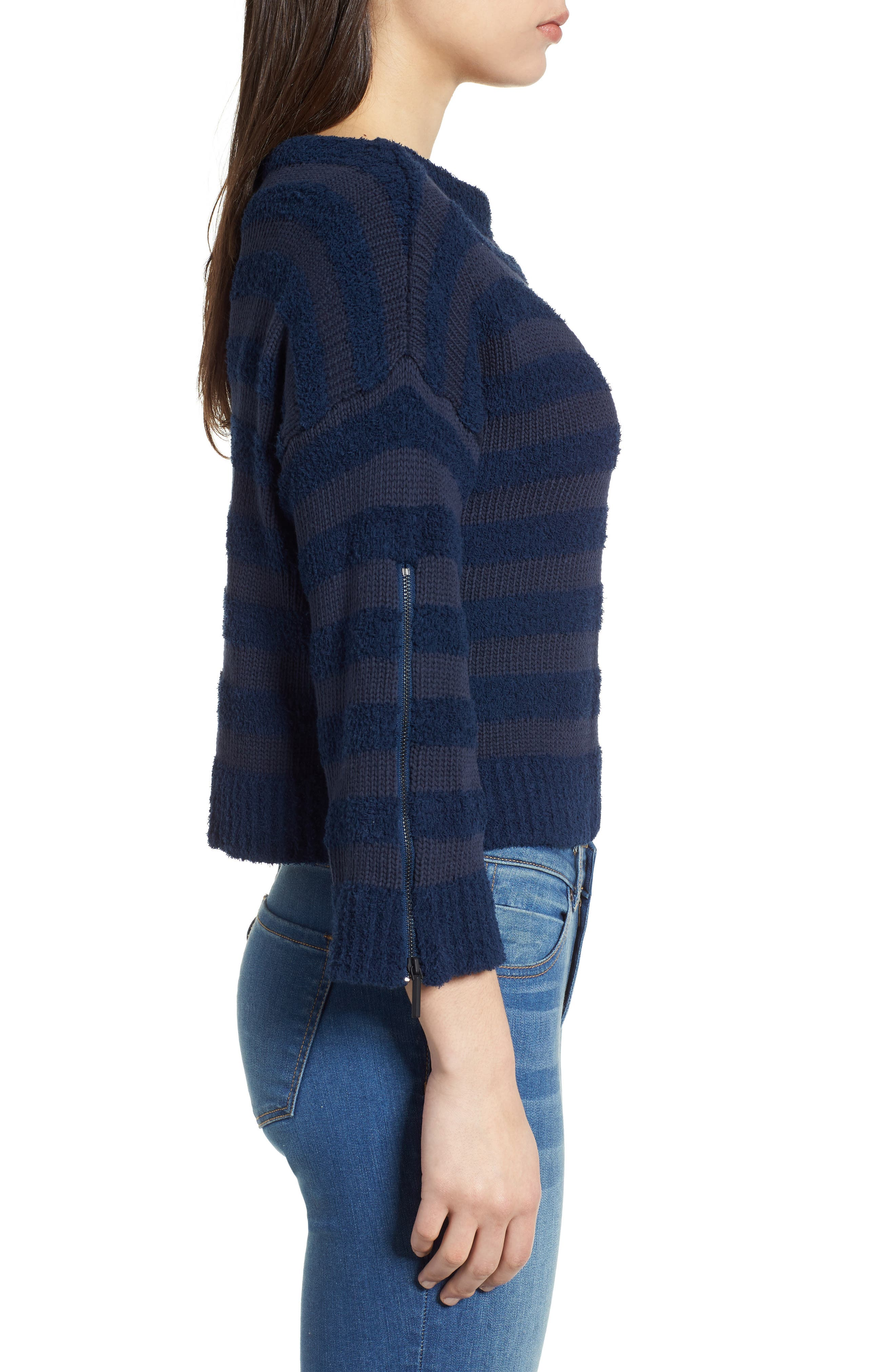 Zip Sleeve Stripe Sweater,                             Alternate thumbnail 3, color,                             Indigo