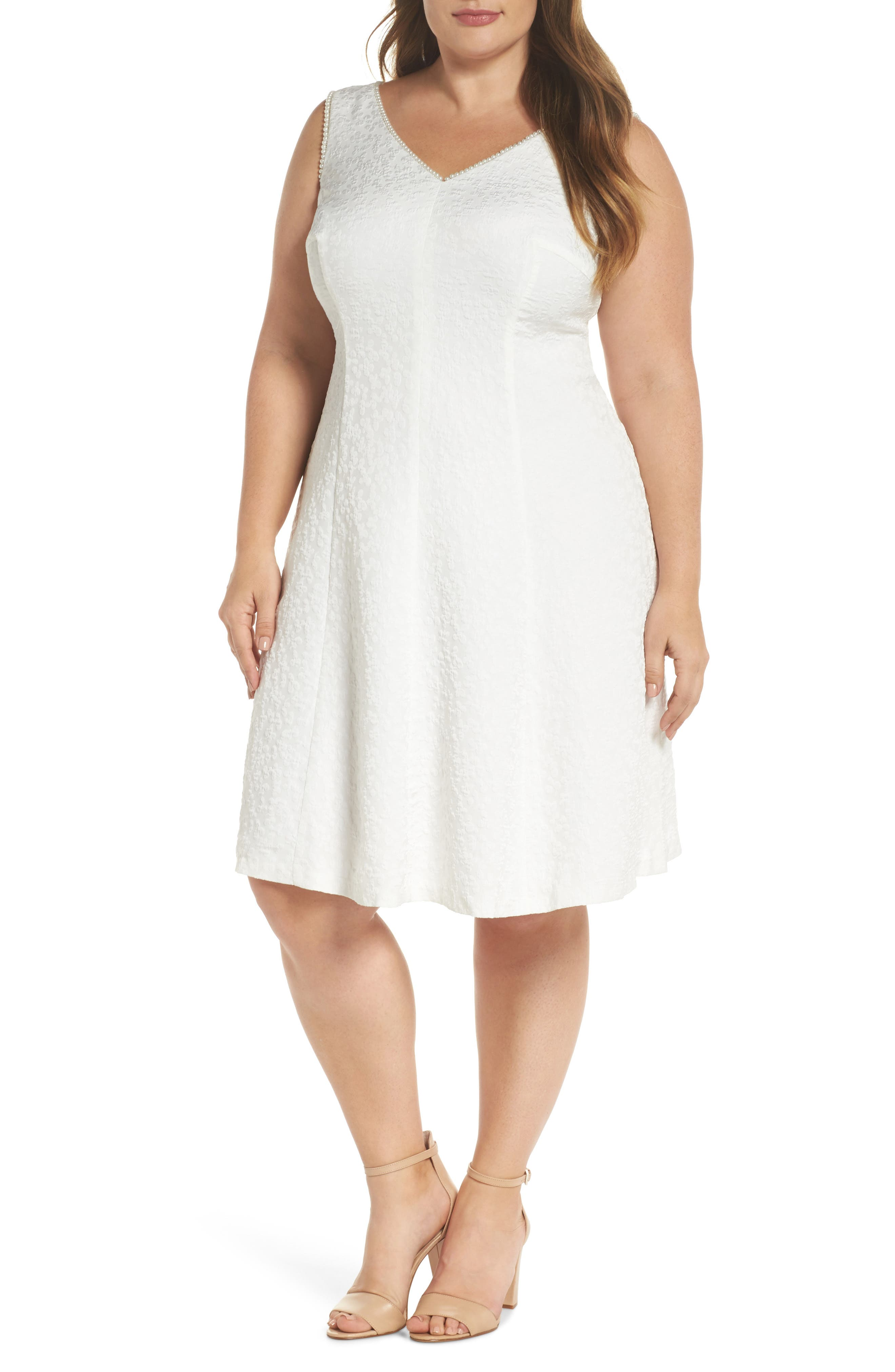 Textured Fit & Flare Dress,                         Main,                         color, White