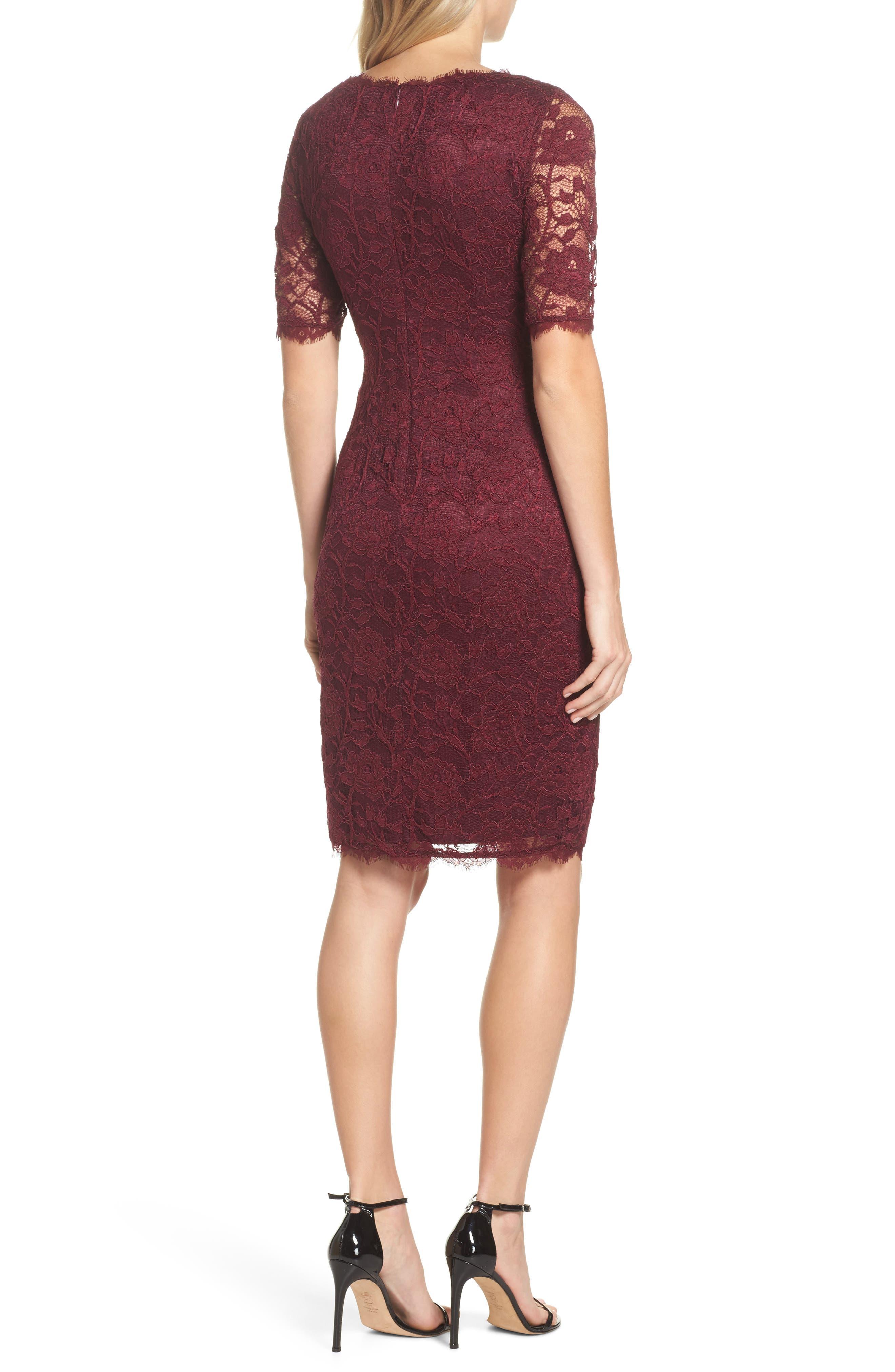 Rose Lace Sheath Dress,                             Alternate thumbnail 2, color,                             Cabernet