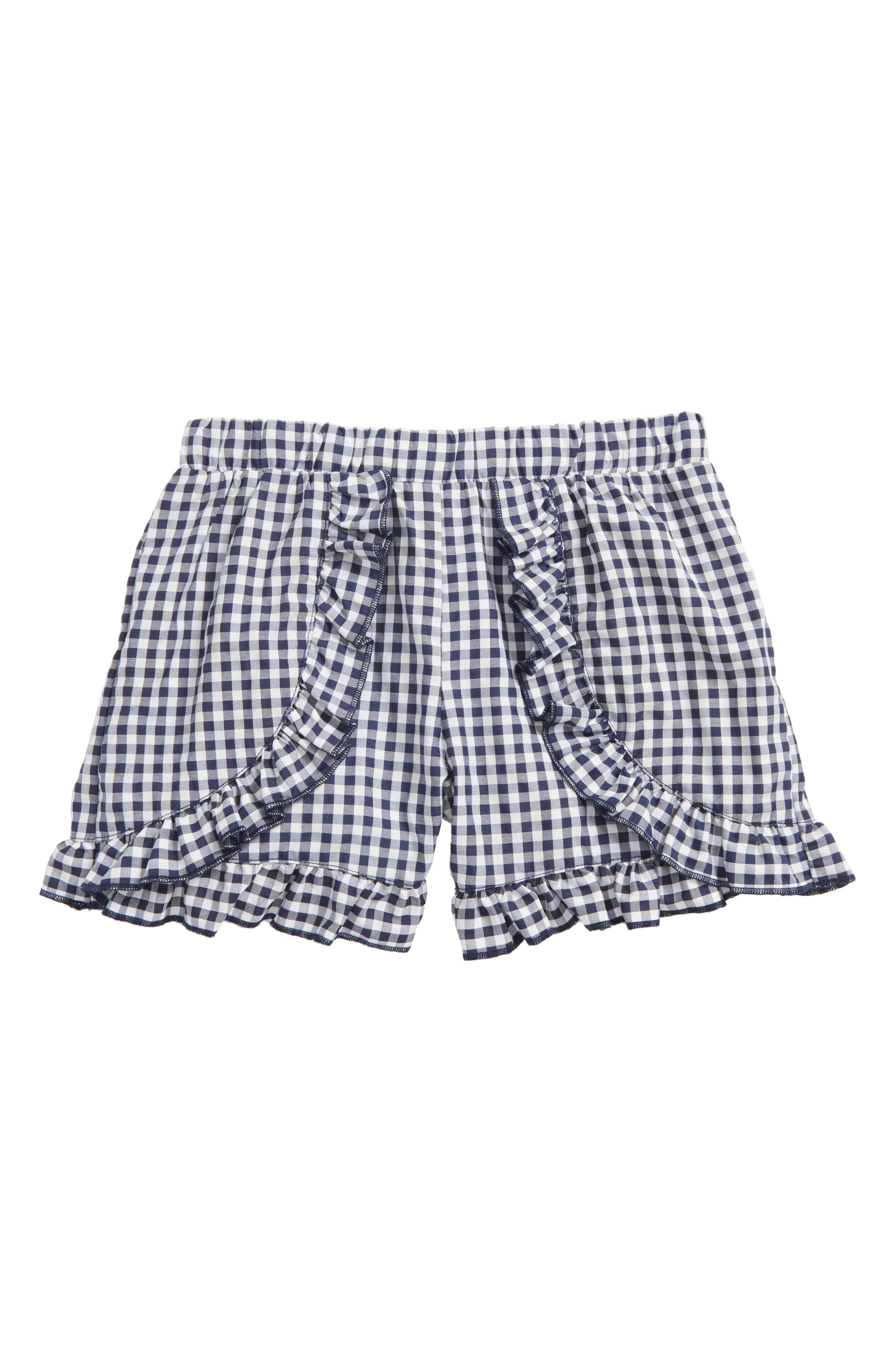 Ruffle Gingham Shorts,                             Main thumbnail 1, color,                             Navy White