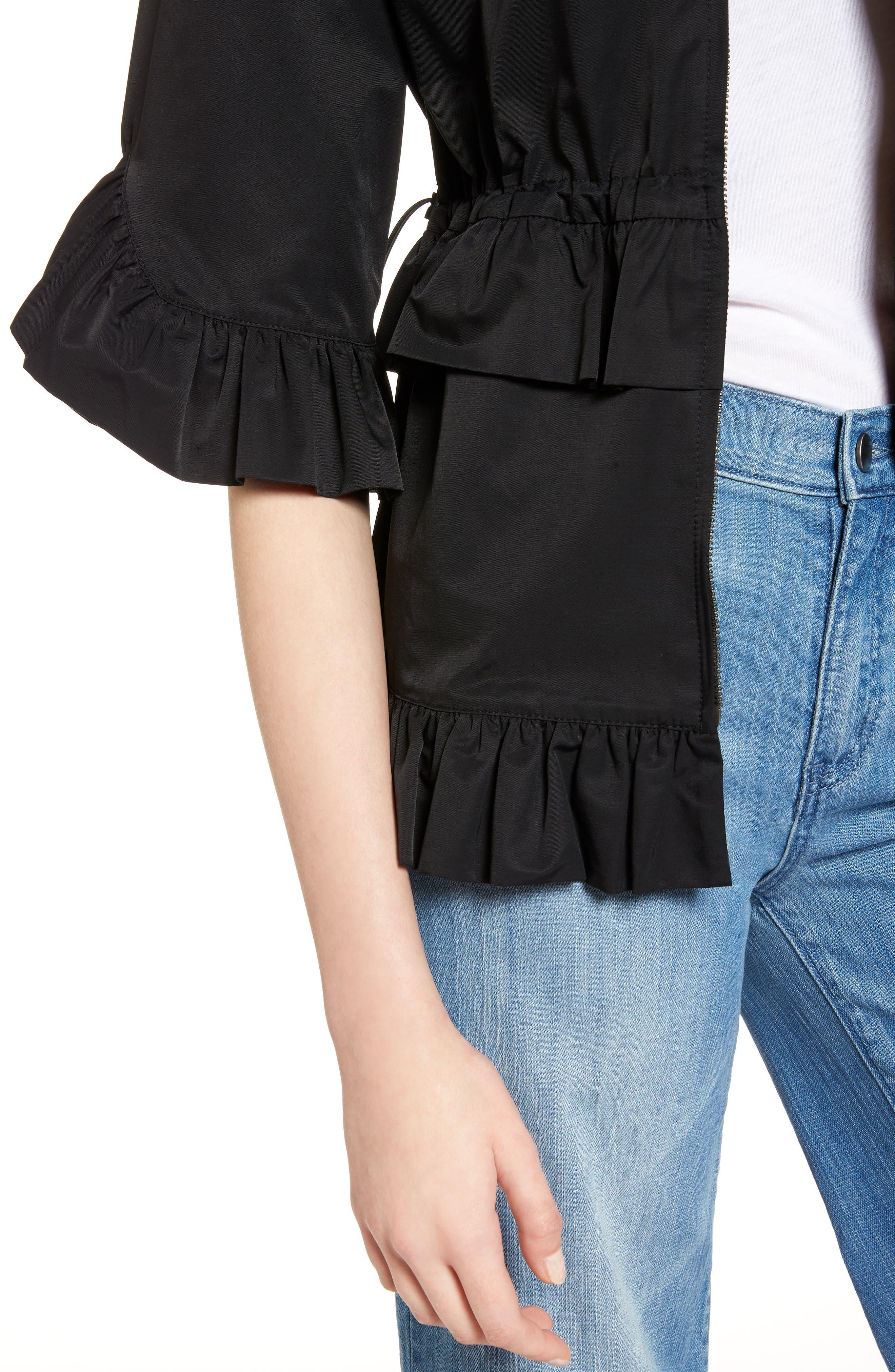 Alternate Image 4  - Halogen® Ruffle Zip Jacket (Regular & Petite)