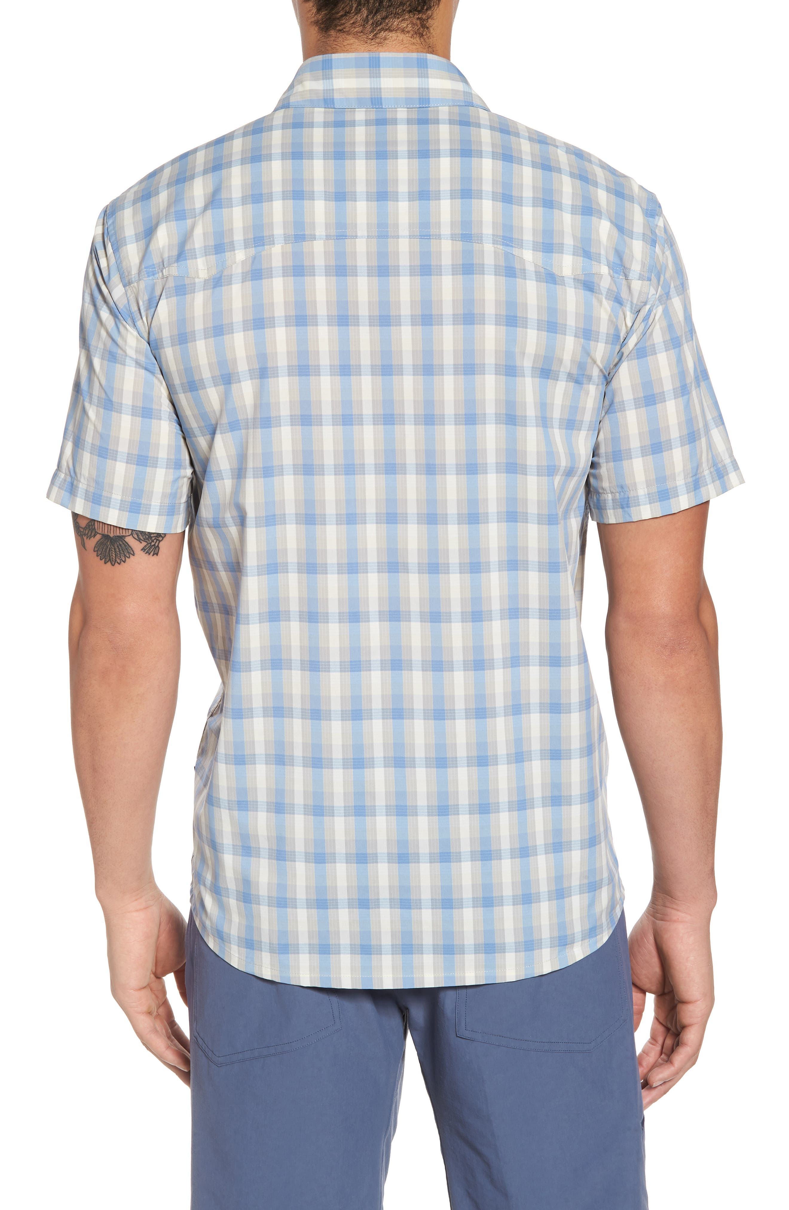 M's Sun Plaid Stretch Hybrid Shirt,                             Alternate thumbnail 2, color,                             Mauro Railroad Blue