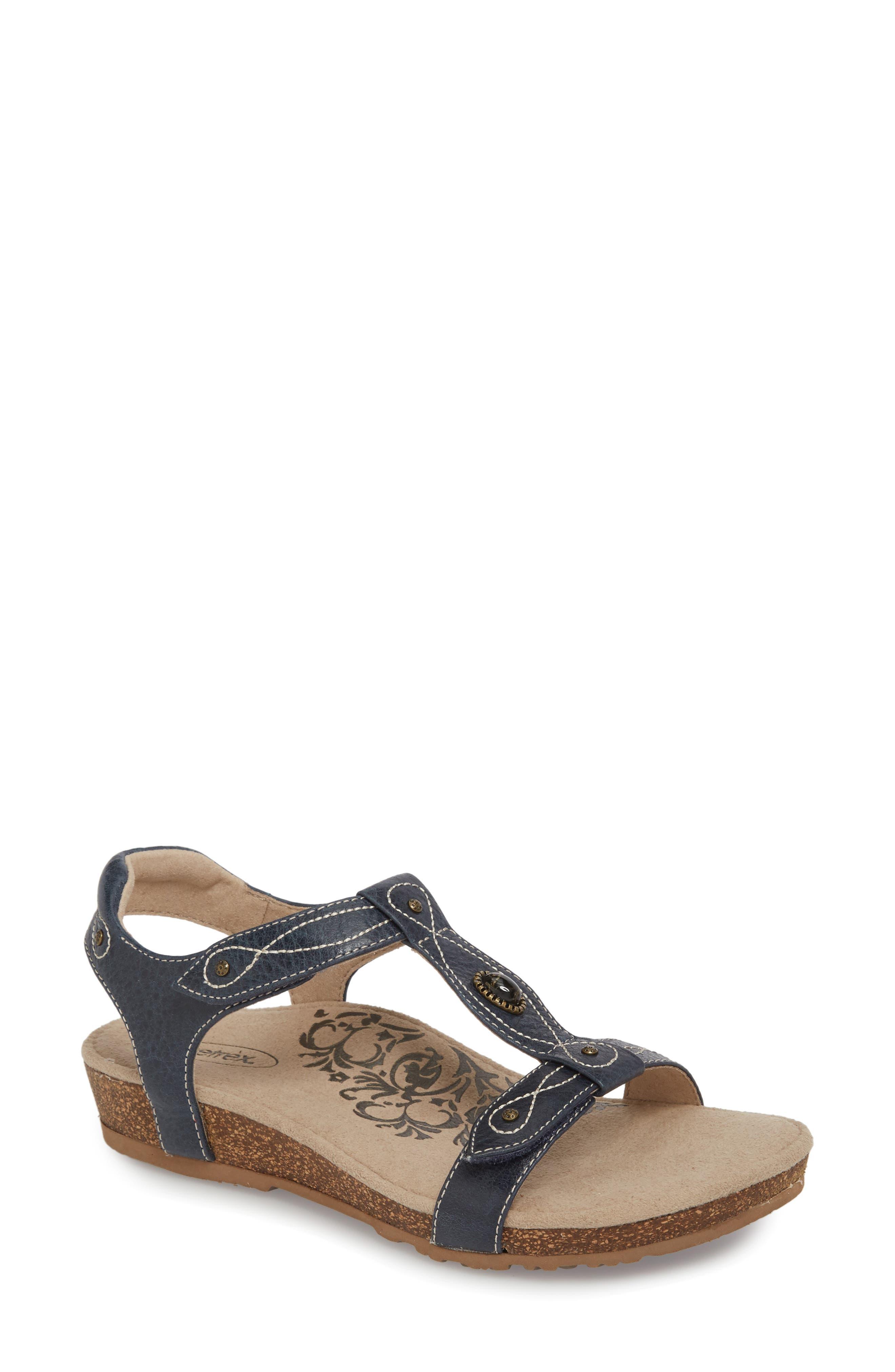 'Lori' Sandal,                             Main thumbnail 1, color,                             Navy Leather