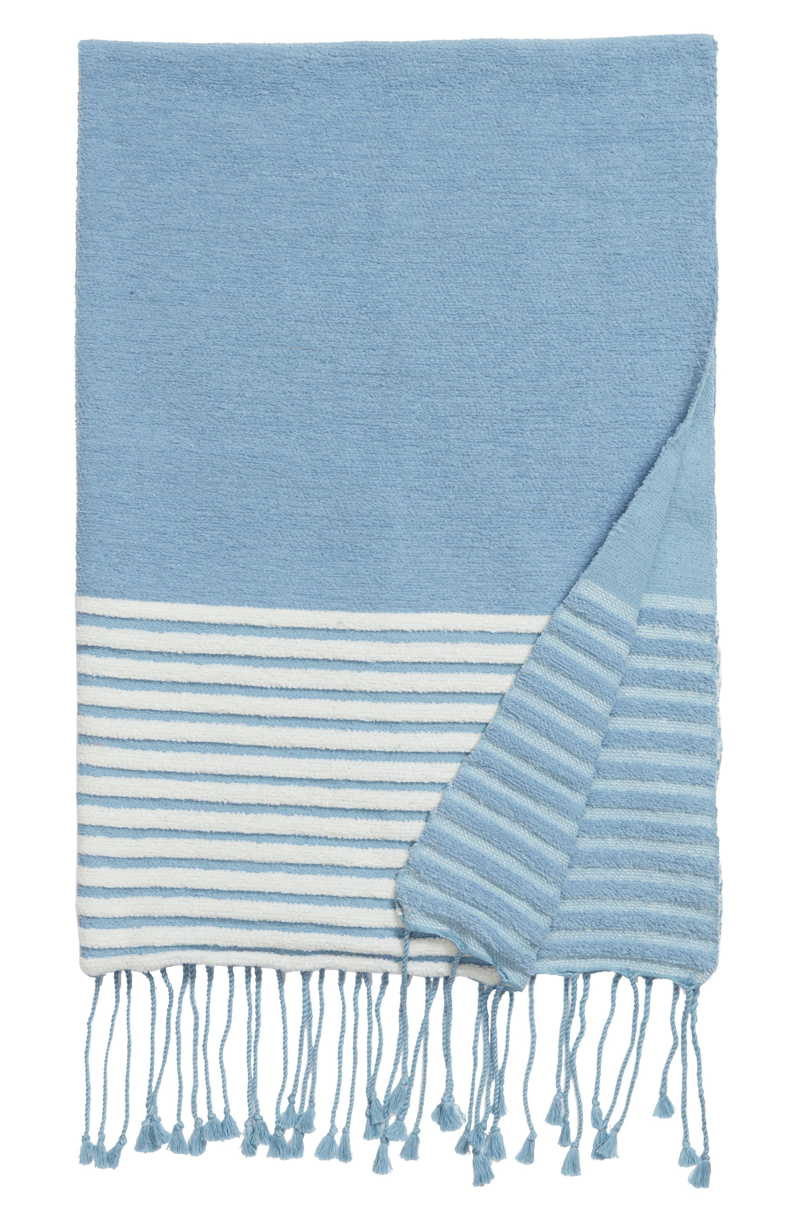 Hammam Stripe Throw,                         Main,                         color, Blue Drizzle