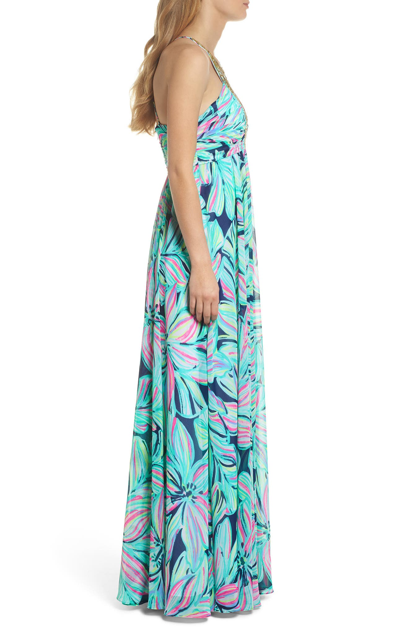 Lannette Embellished Chiffon Maxi Dress,                             Alternate thumbnail 3, color,                             High Tide Dancing Lady