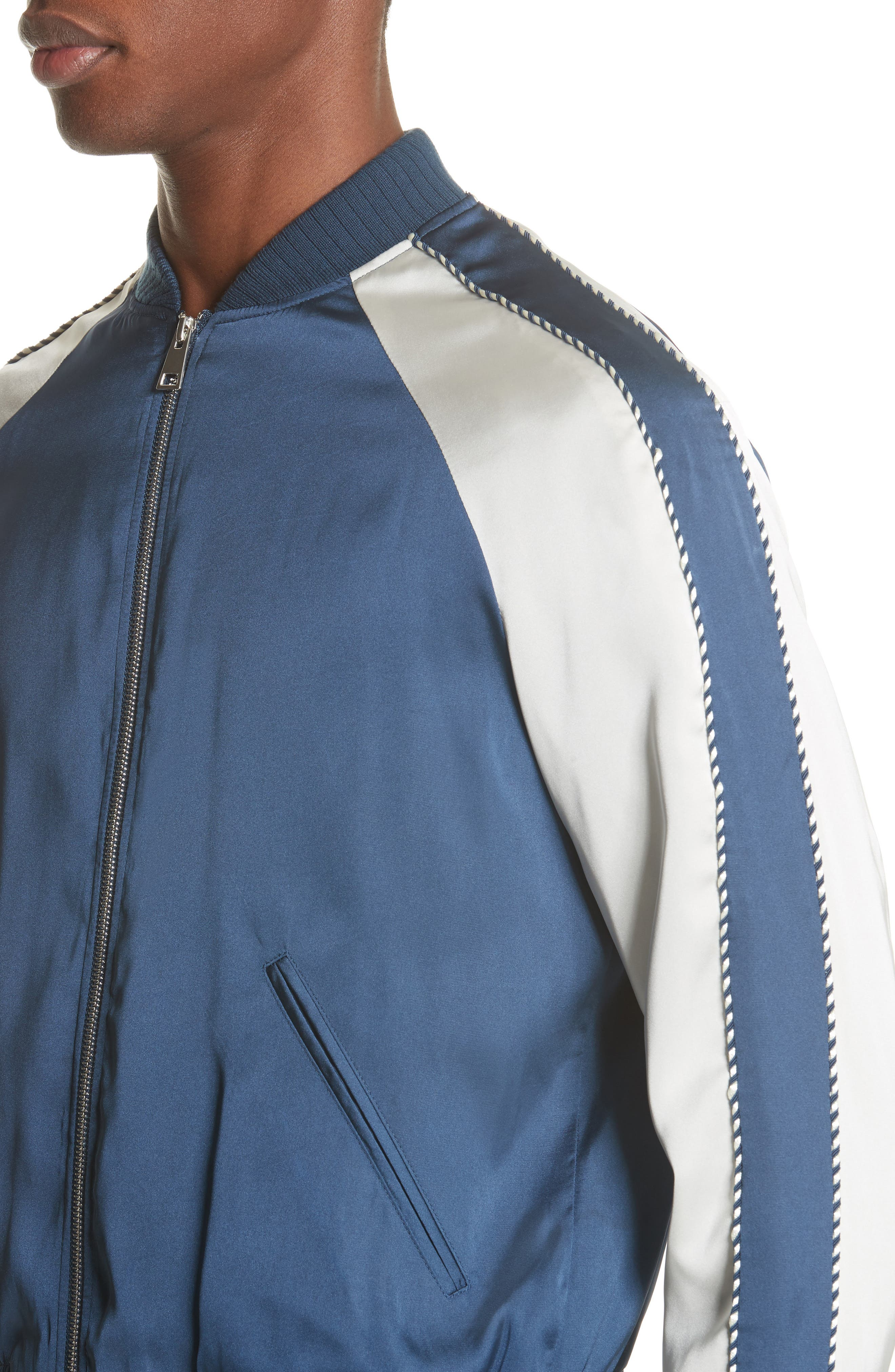 Satin Souvenir Bomber Jacket,                             Alternate thumbnail 4, color,                             Blue