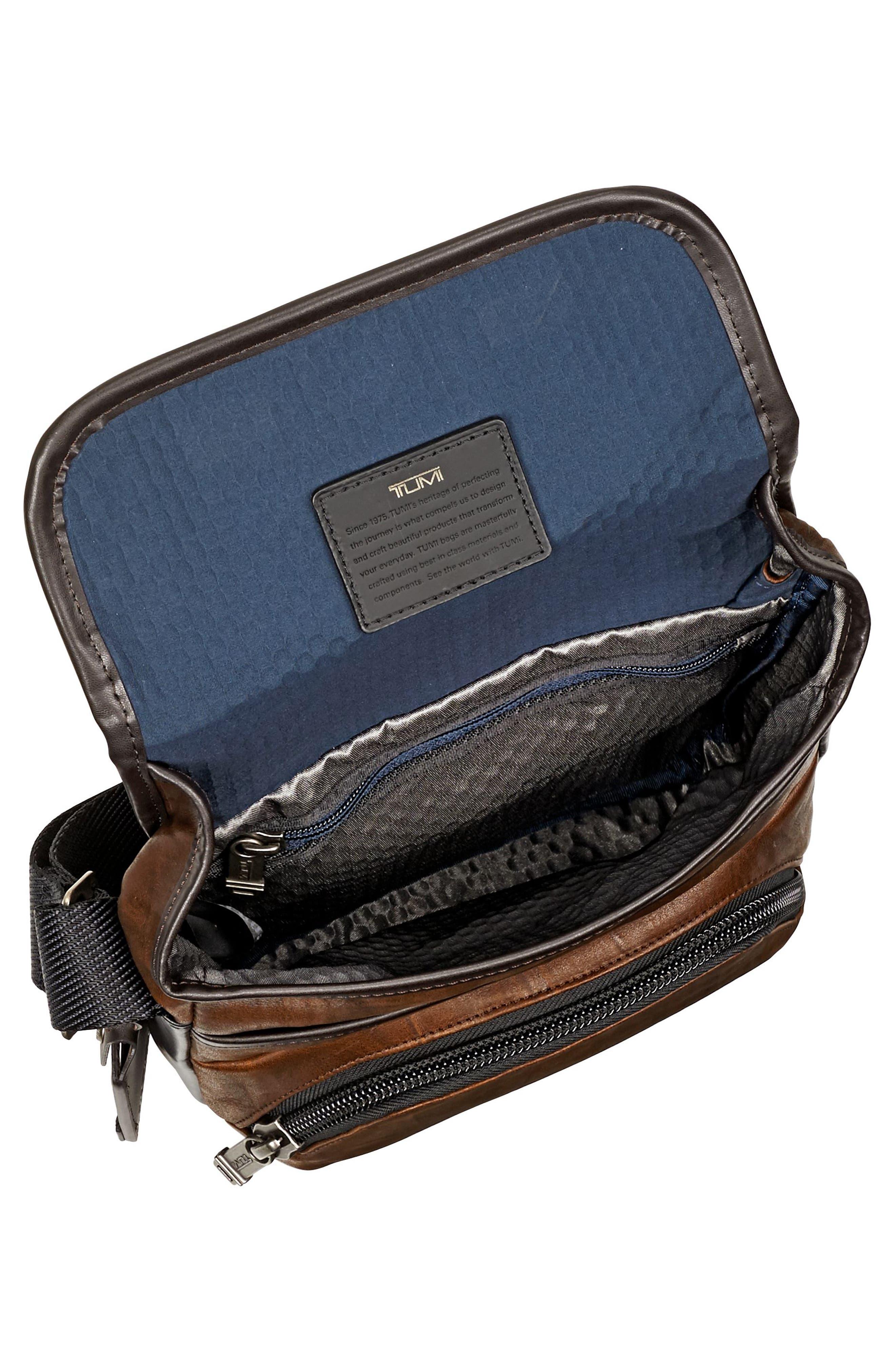 Alpha Bravo - Barton Leather Crossbody Bag,                             Alternate thumbnail 4, color,                             Dark Brown