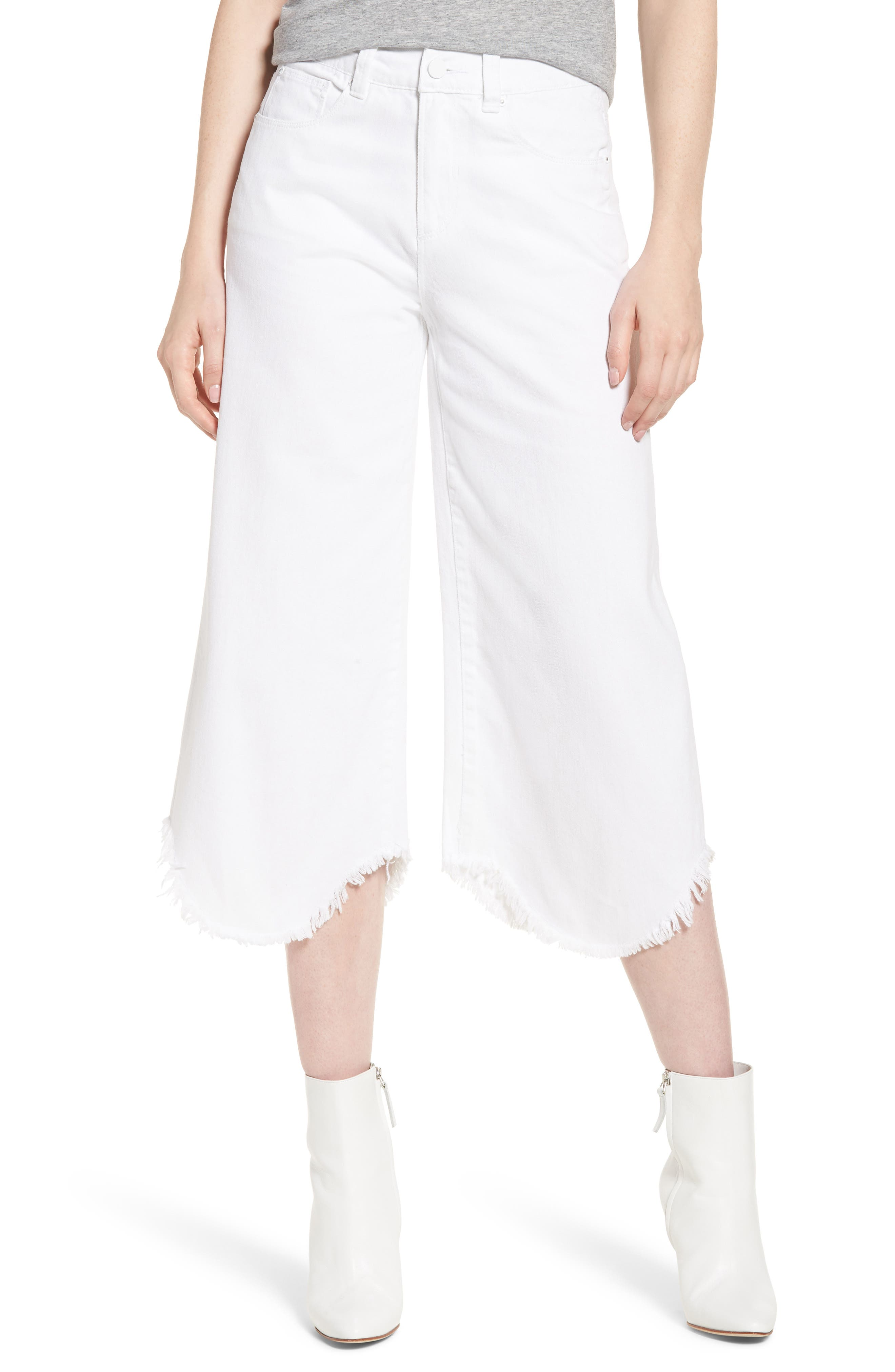 Wide Leg Crop Jeans,                         Main,                         color, White