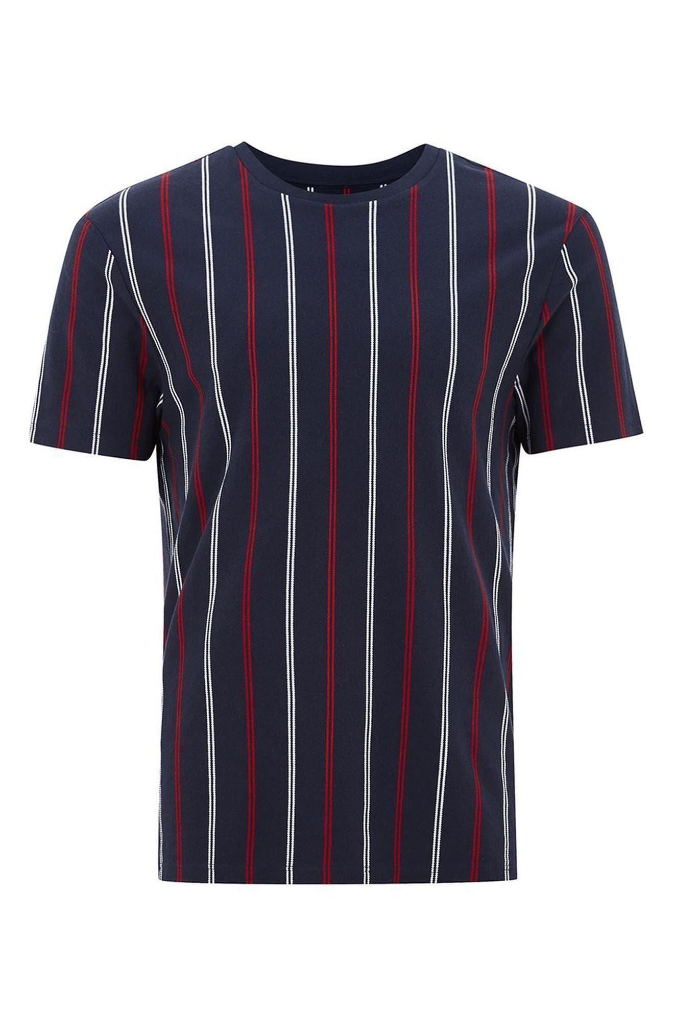 Slim Fit Vertical Striped T-Shirt,                             Alternate thumbnail 4, color,                             Dark Blue Multi