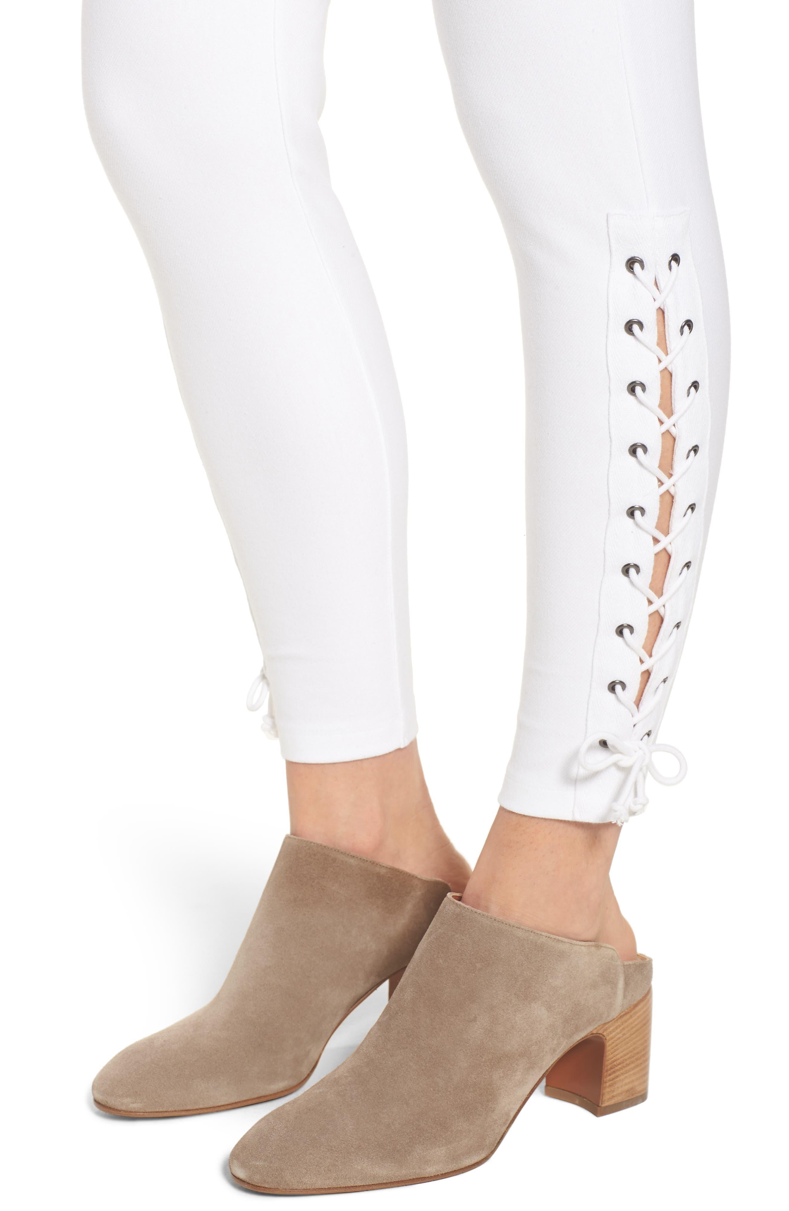 Lace-Up Denim Leggings,                             Alternate thumbnail 4, color,                             White