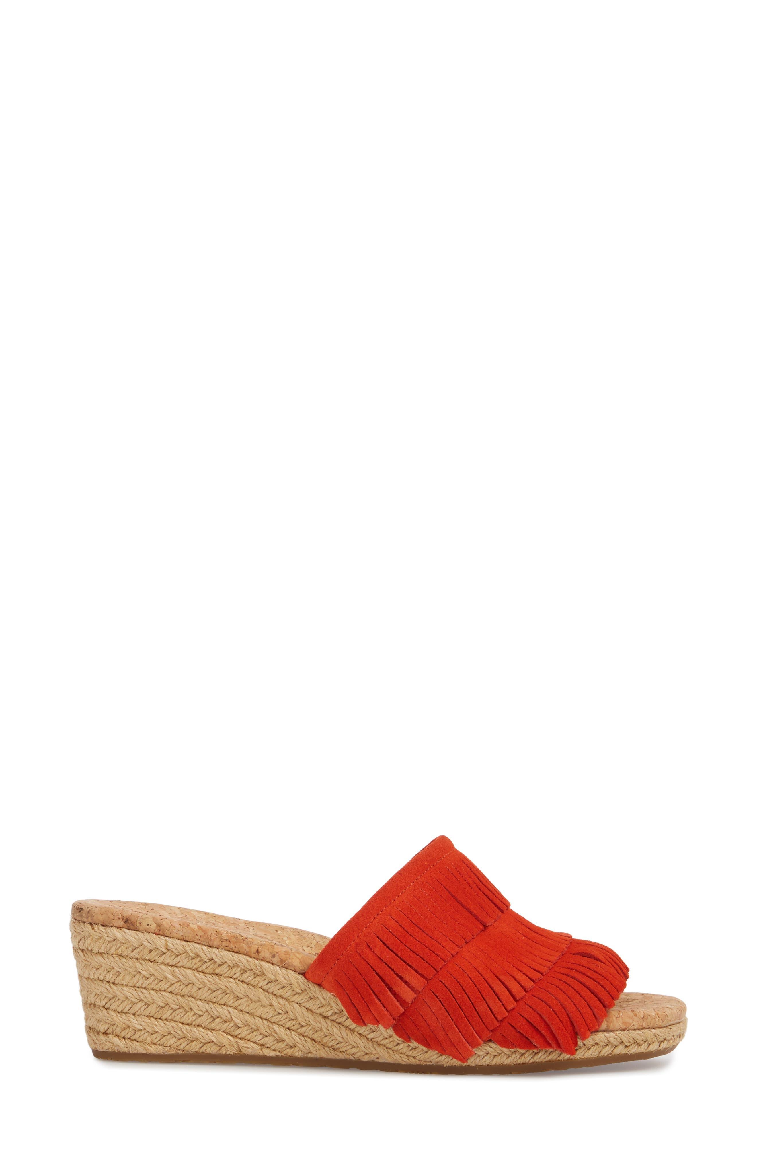 Kendra Fringe Wedge Sandal,                             Alternate thumbnail 3, color,                             Red Orange