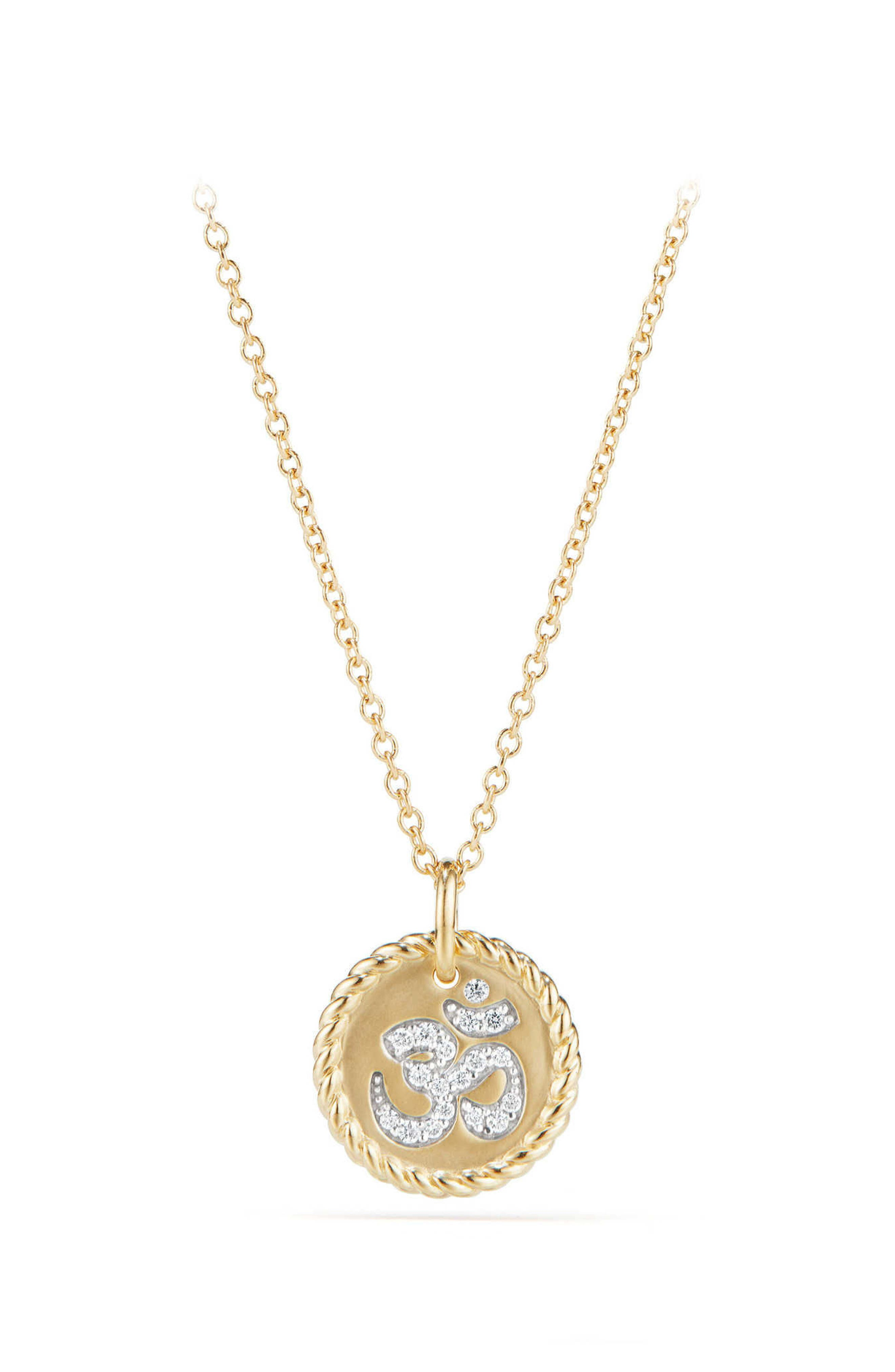 David Yurman Cable Collectibles Om Necklace with Diamonds in 18K Gold