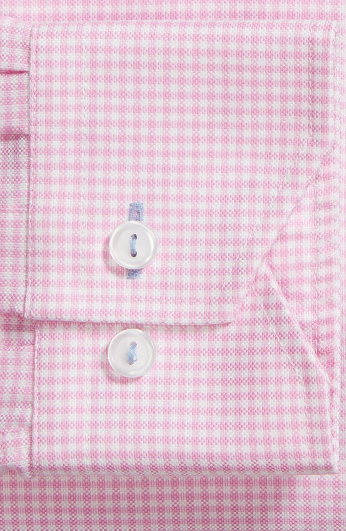 Trim Fit Textured Gingham Dress Shirt,                             Alternate thumbnail 5, color,                             Pink