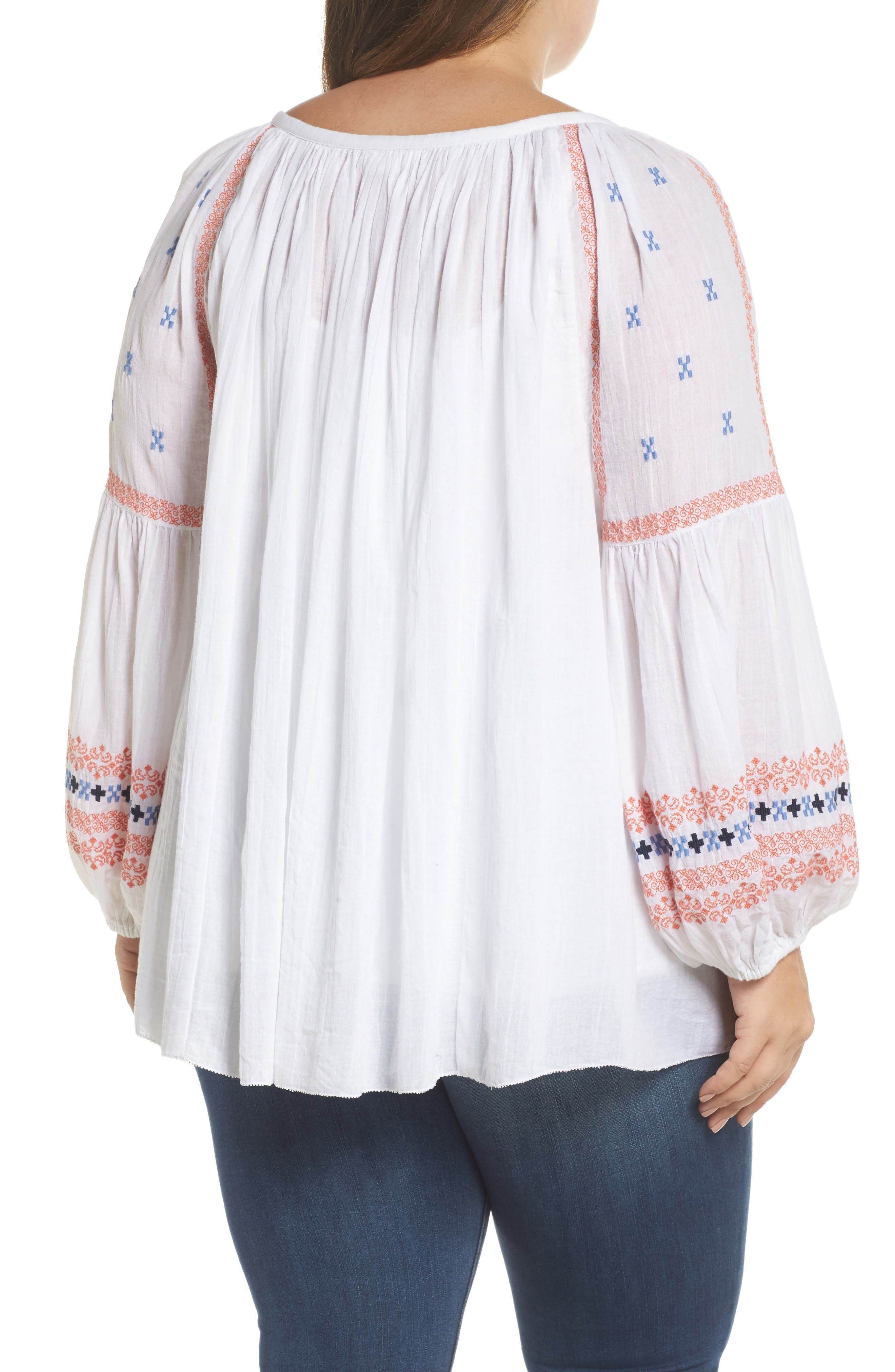 Embroidered Peasant Top,                             Alternate thumbnail 2, color,                             White- Coral Pattern