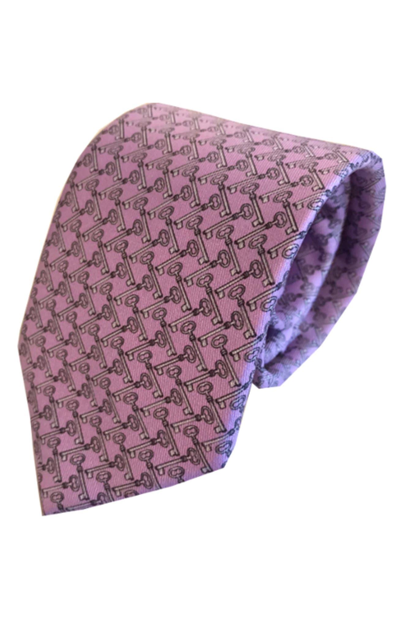 Keys To The Kingdom Silk Tie,                             Main thumbnail 1, color,                             Lavender