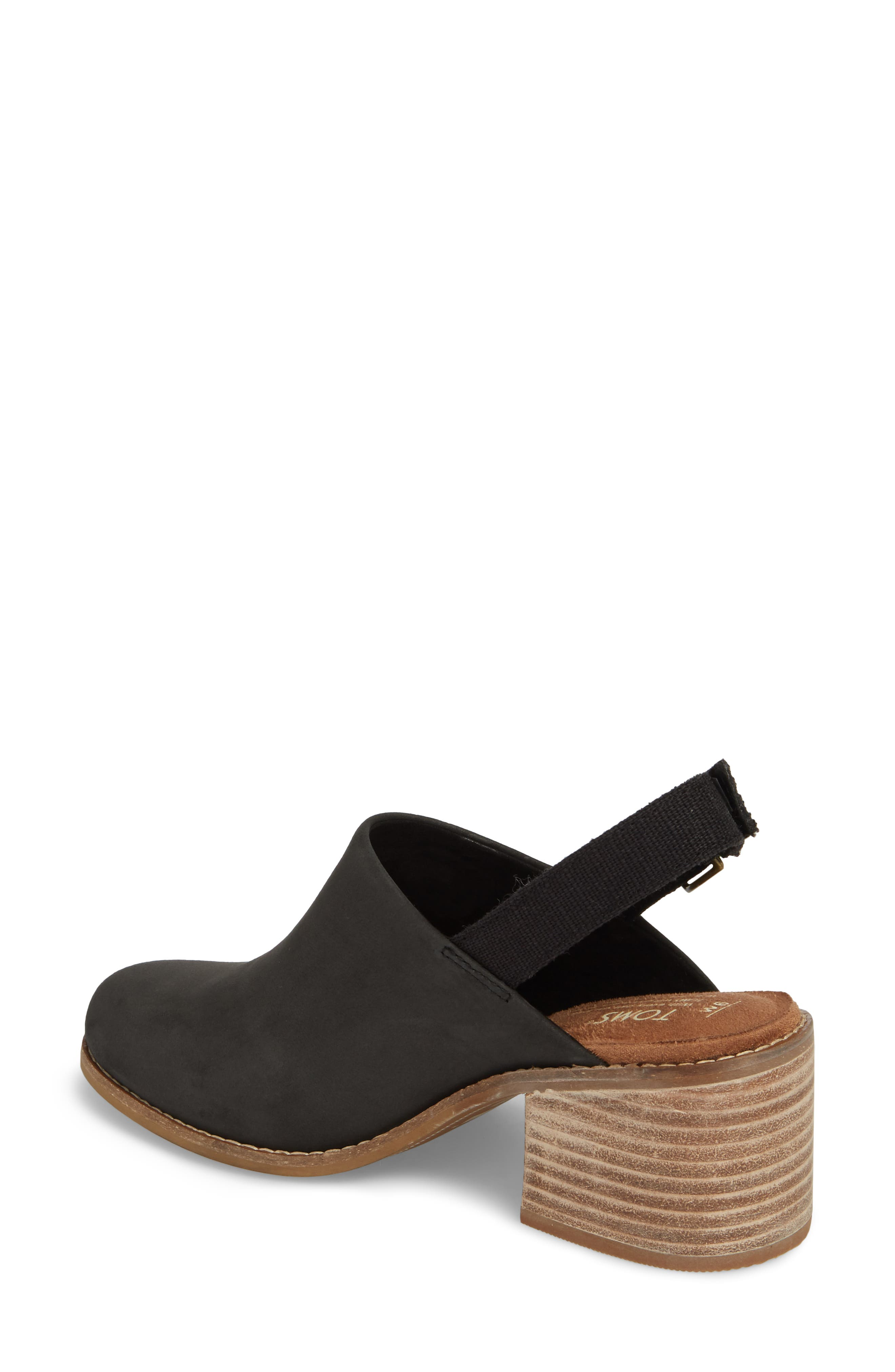 Leila Slingback Sandal,                             Alternate thumbnail 2, color,                             Black Leather