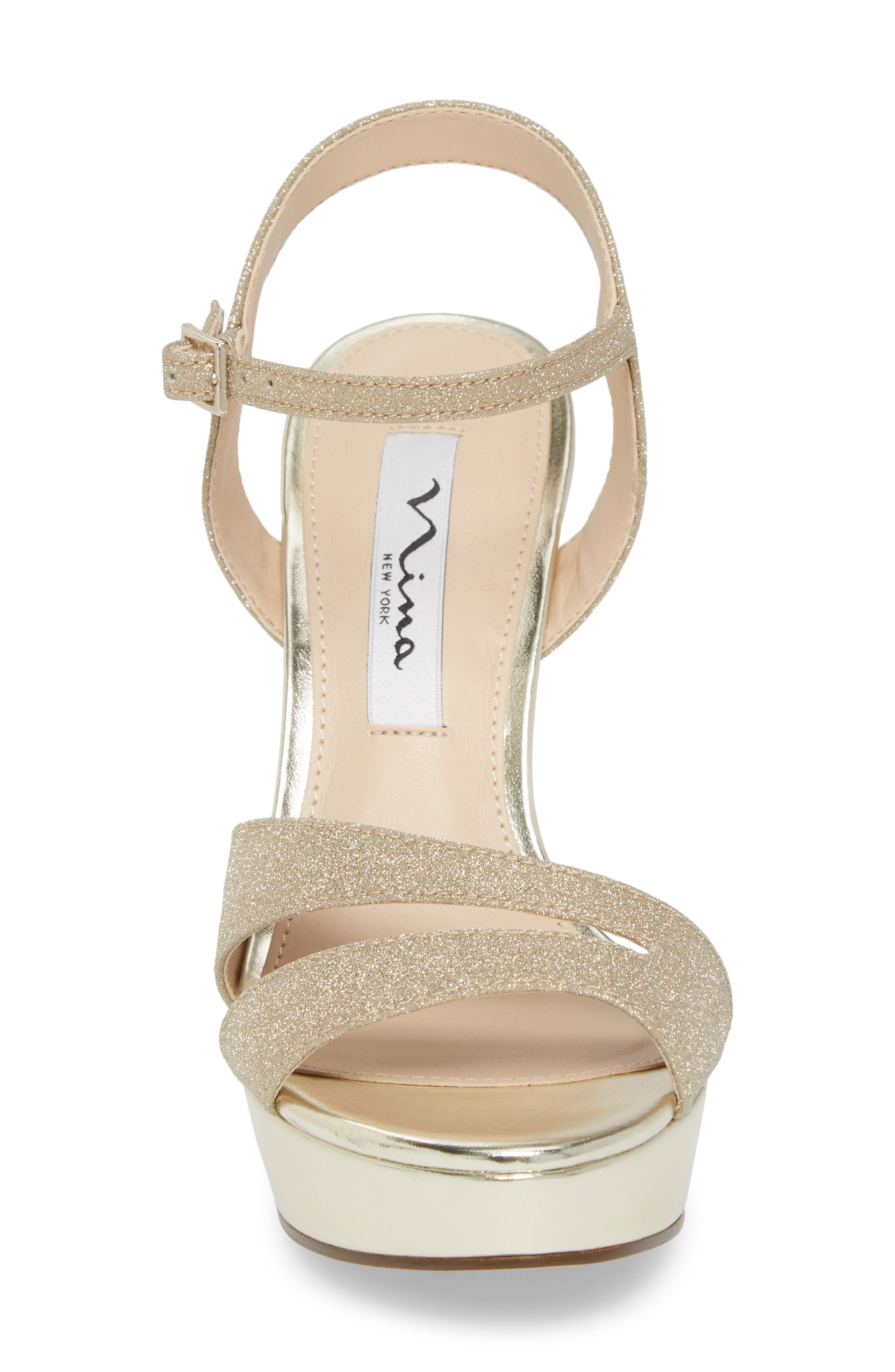 Silana Platform Sandal,                             Alternate thumbnail 4, color,                             Gold Glitter Fabric